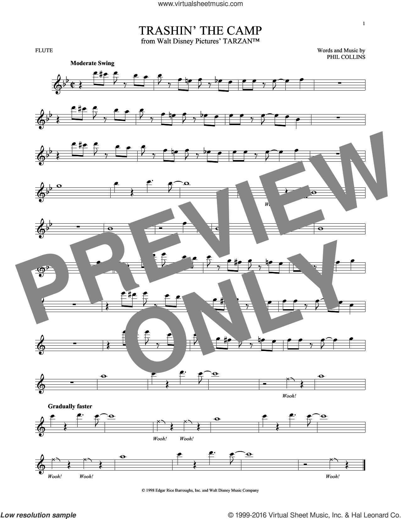 Trashin' The Camp sheet music for flute solo by Phil Collins. Score Image Preview.