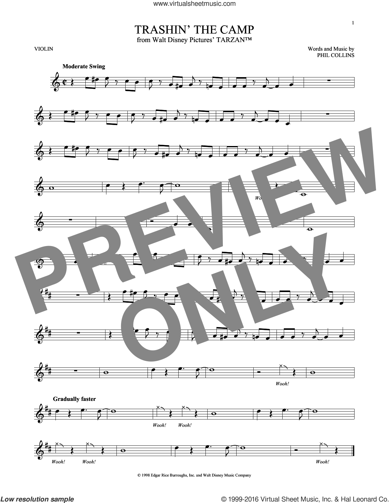 Trashin' The Camp sheet music for violin solo by Phil Collins. Score Image Preview.