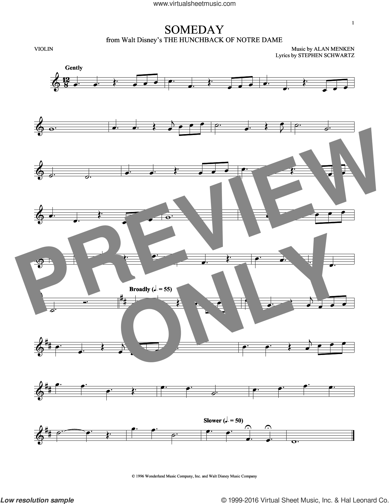Someday (Esmeralda's Prayer) sheet music for violin solo by Alan Menken, Donna Summer and Stephen Schwartz, intermediate skill level