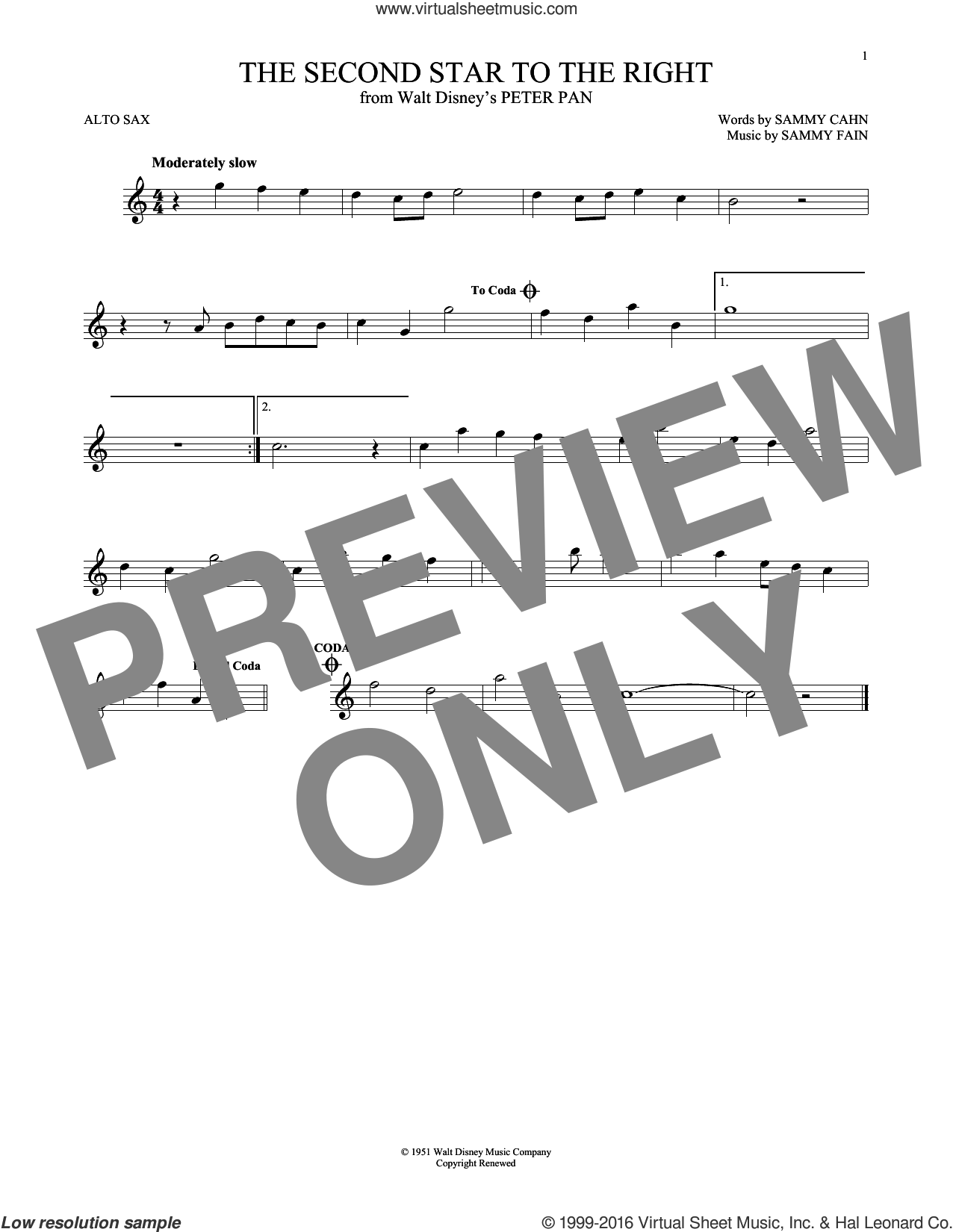 The Second Star To The Right sheet music for alto saxophone solo by Sammy Cahn and Sammy Fain, classical score, intermediate. Score Image Preview.