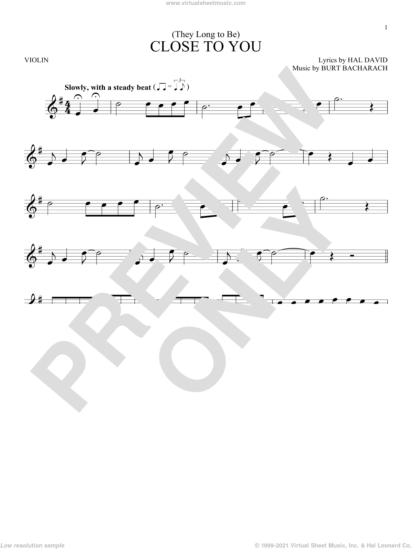 (They Long To Be) Close To You sheet music for violin solo by Burt Bacharach, Carpenters and Hal David, intermediate skill level