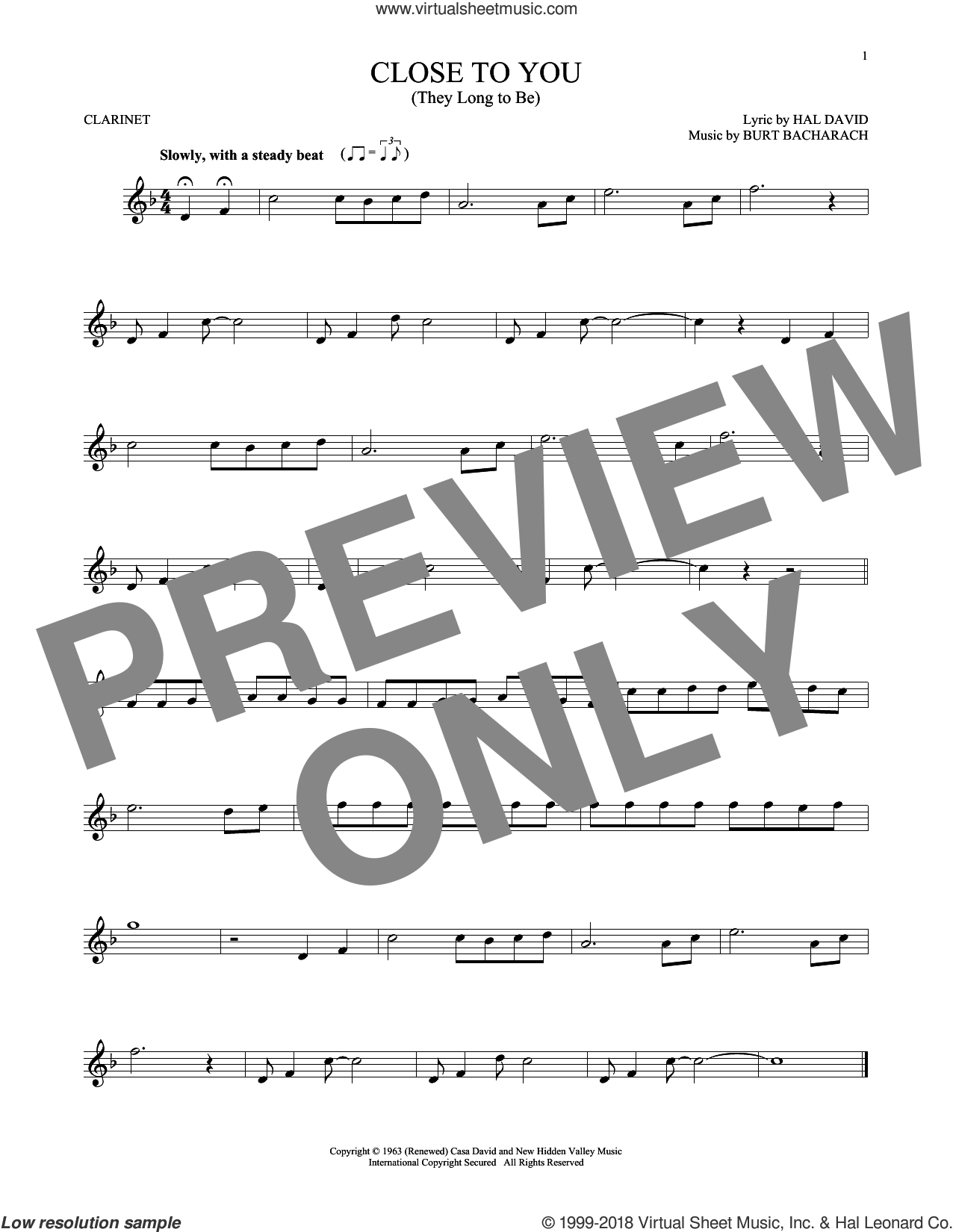 (They Long To Be) Close To You sheet music for clarinet solo by Burt Bacharach, Carpenters and Hal David, intermediate skill level