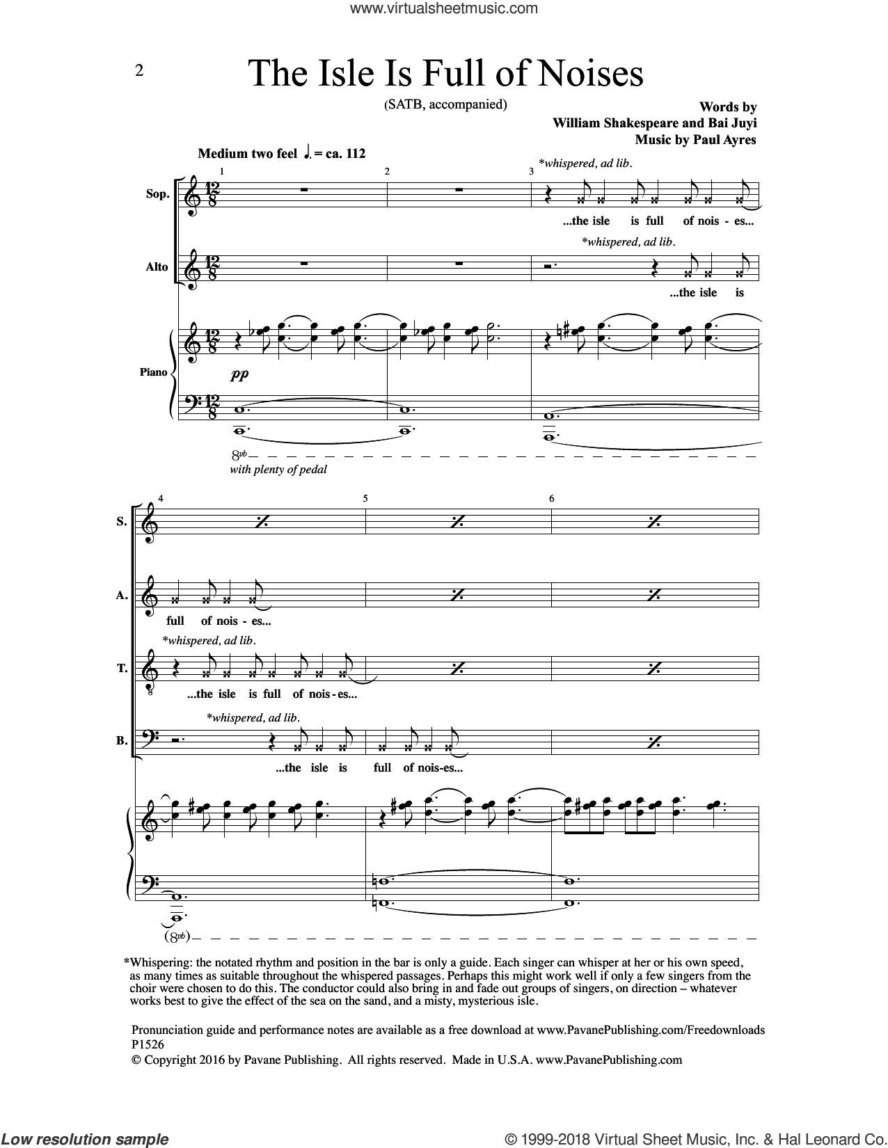 The Isle Is Full of Noises sheet music for choir by Paul Ayres, Bai Juyi and William Shakespeare, intermediate skill level