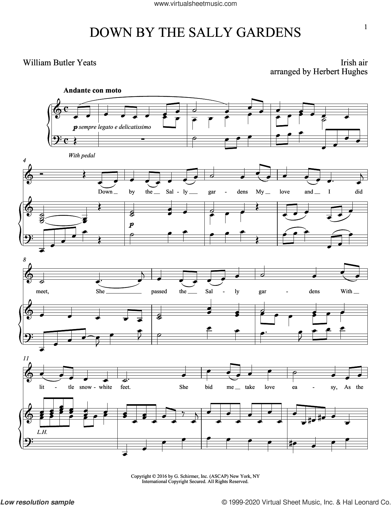Down By The Sally Gardens sheet music for voice and piano by William Butler Yeats, Joan Frey Boytim, Herbert Hughes and Shore', intermediate skill level