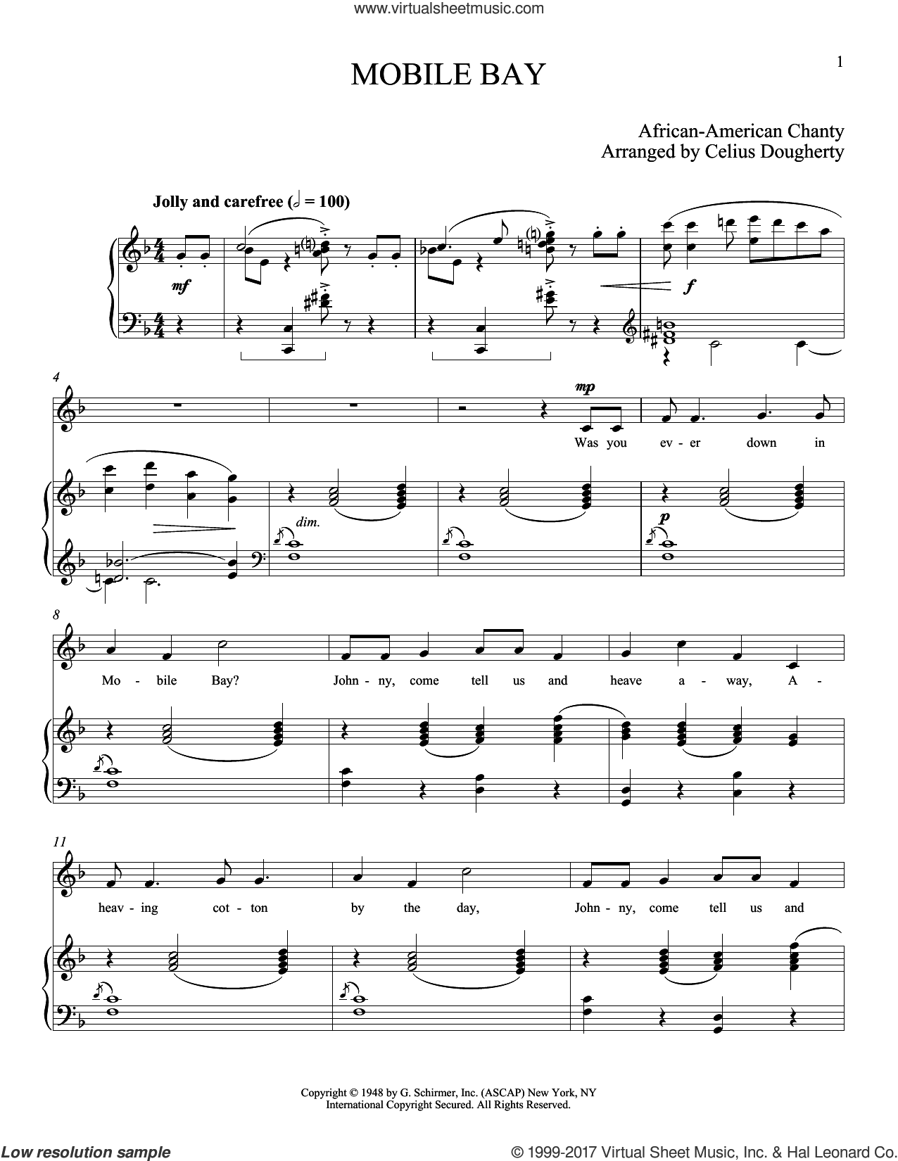 Mobile Bay sheet music for voice and piano (Tenor) by Celius Dougherty, classical score, intermediate skill level