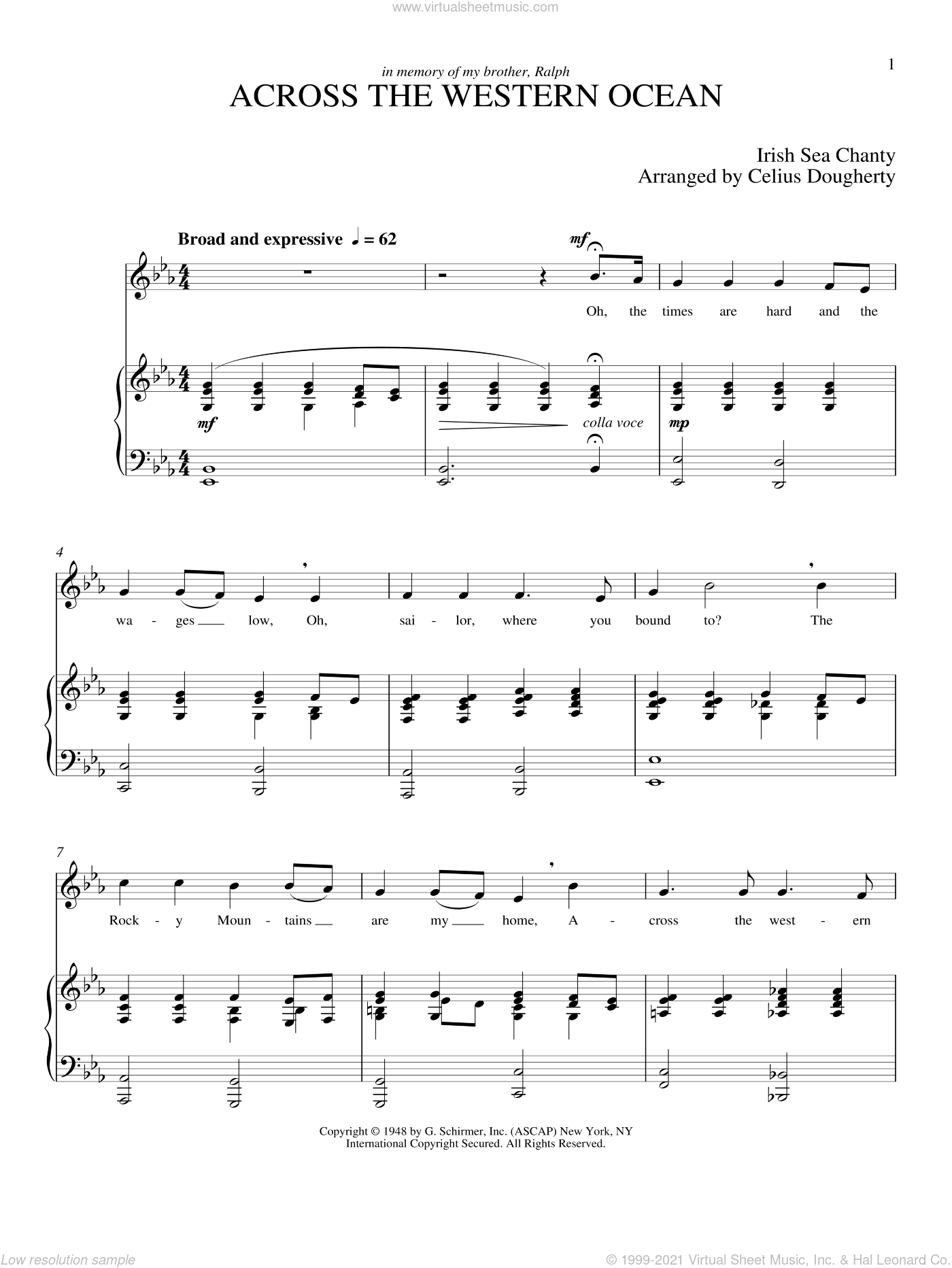 Across The Western Ocean (Five Sea Chanties, No. 3) sheet music for voice and piano (Tenor) by Celius Dougherty. Score Image Preview.