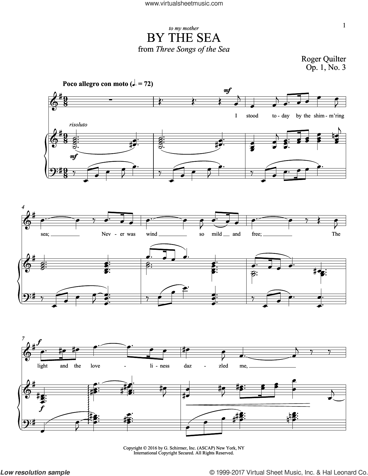 By The Sea sheet music for voice and piano (Tenor) by Roger Quilter, intermediate voice. Score Image Preview.