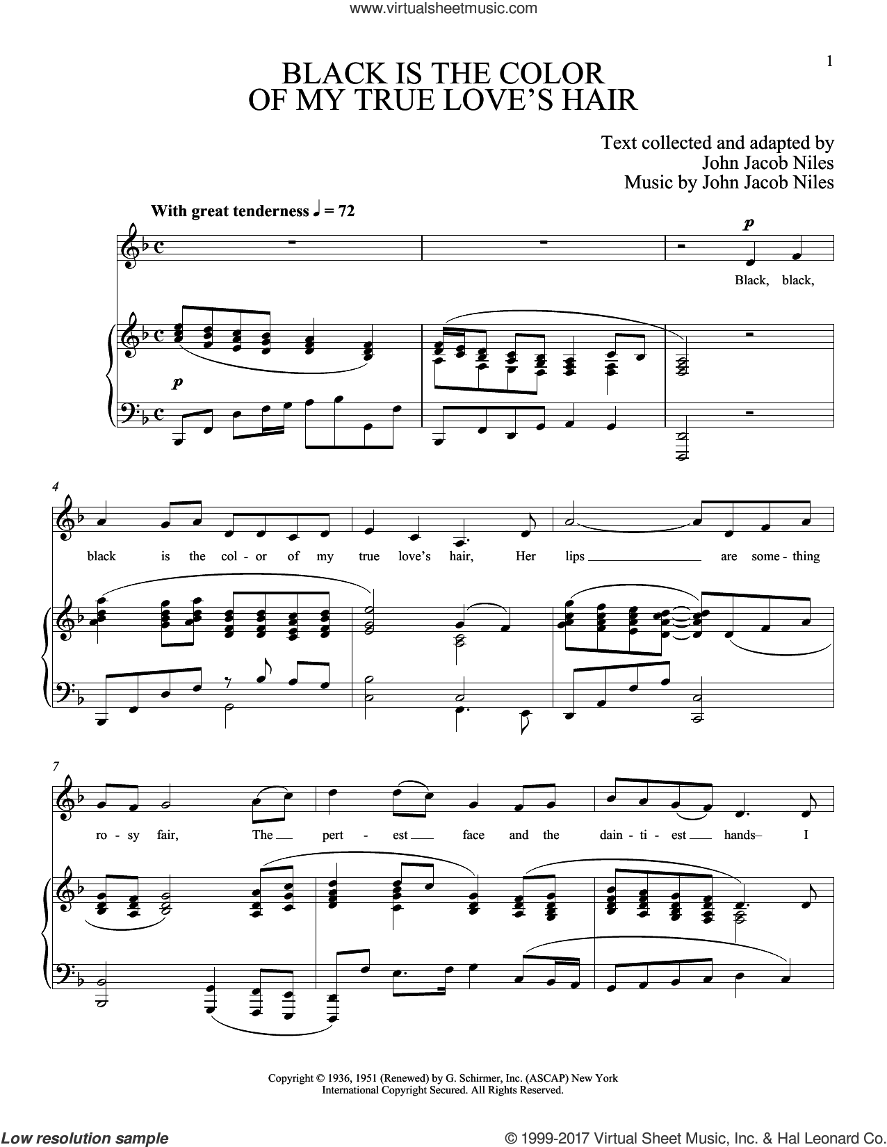 Black Is The Color Of My True Love's Hair sheet music for voice and piano by Joan Frey Boytim. Score Image Preview.