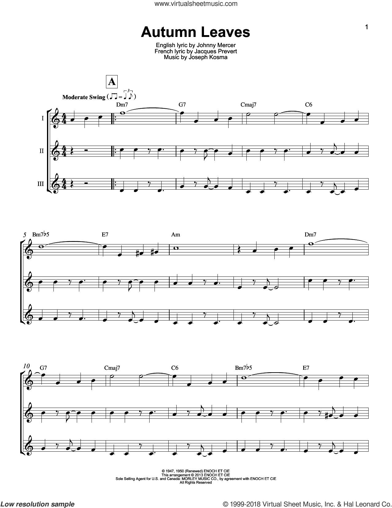 Autumn Leaves sheet music for ukulele ensemble by Johnny Mercer, Mitch Miller, Roger Williams, Jacques Prevert and Joseph Kosma, intermediate skill level
