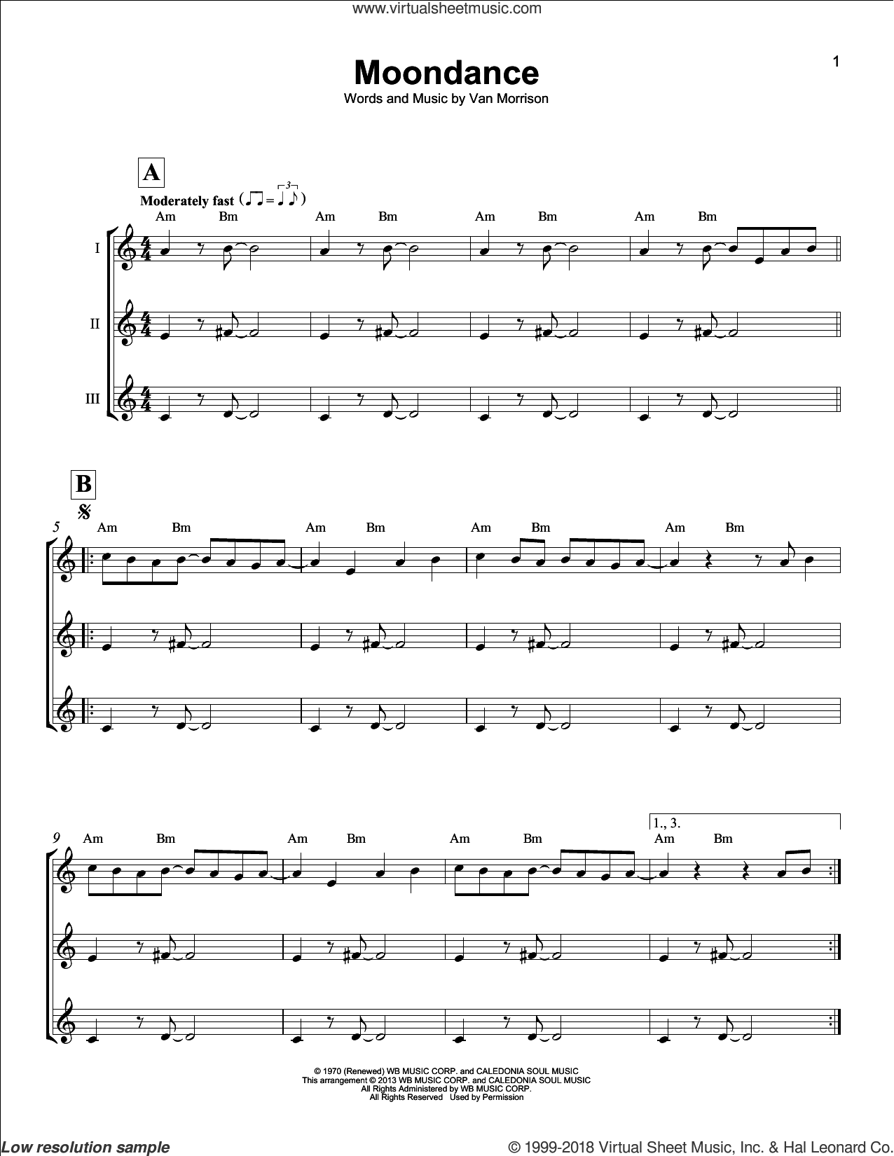 Moondance sheet music for ukulele ensemble by Van Morrison, intermediate skill level