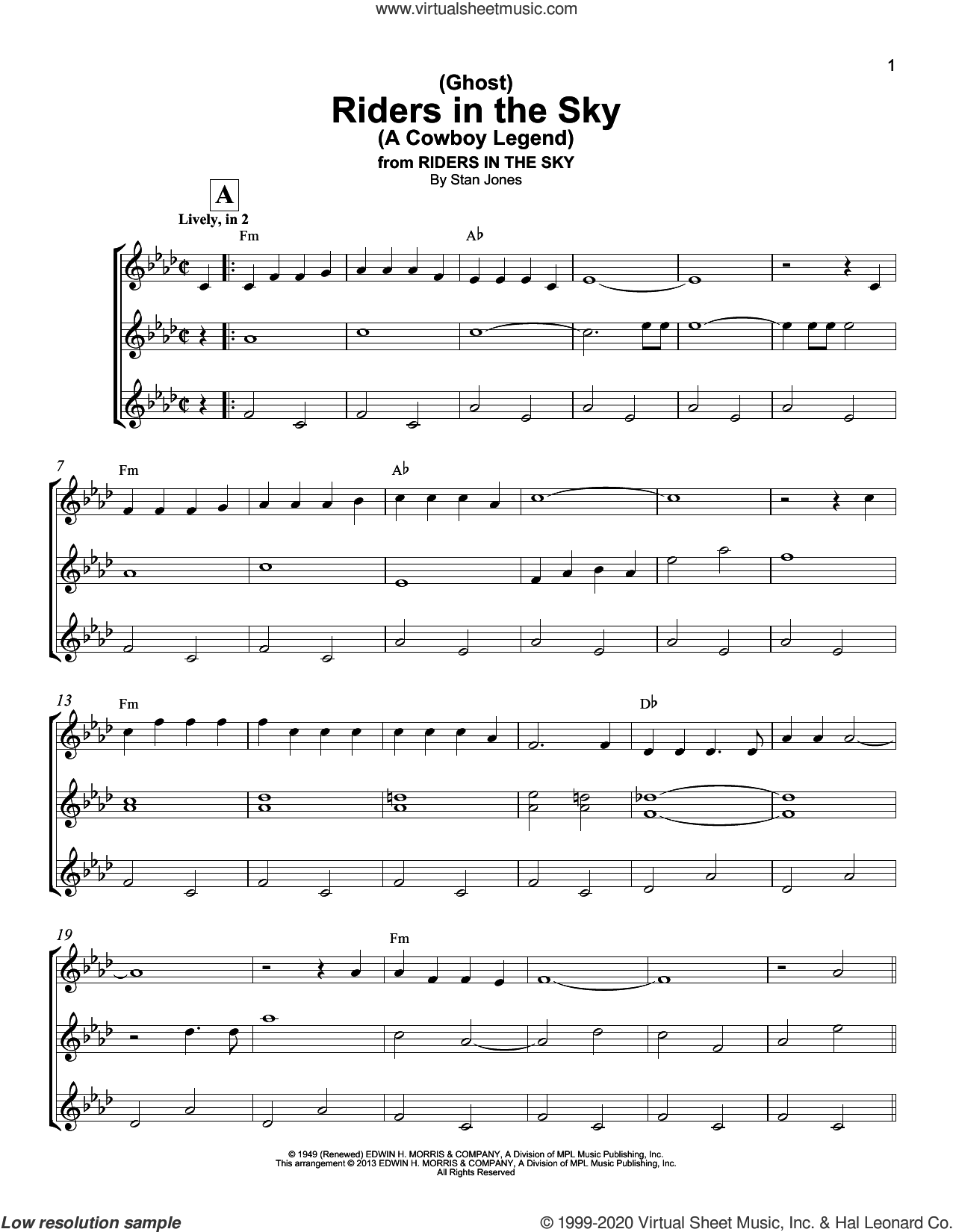 (Ghost) Riders In The Sky (A Cowboy Legend) sheet music for ukulele ensemble by Stan Jones and Johnny Cash, intermediate skill level