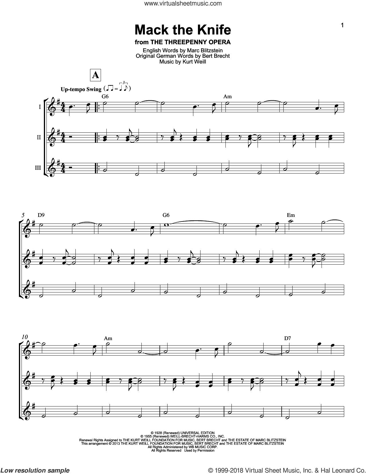 Mack The Knife sheet music for ukulele ensemble by Bobby Darin, Bertolt Brecht, Kurt Weill and Marc Blitzstein, intermediate skill level
