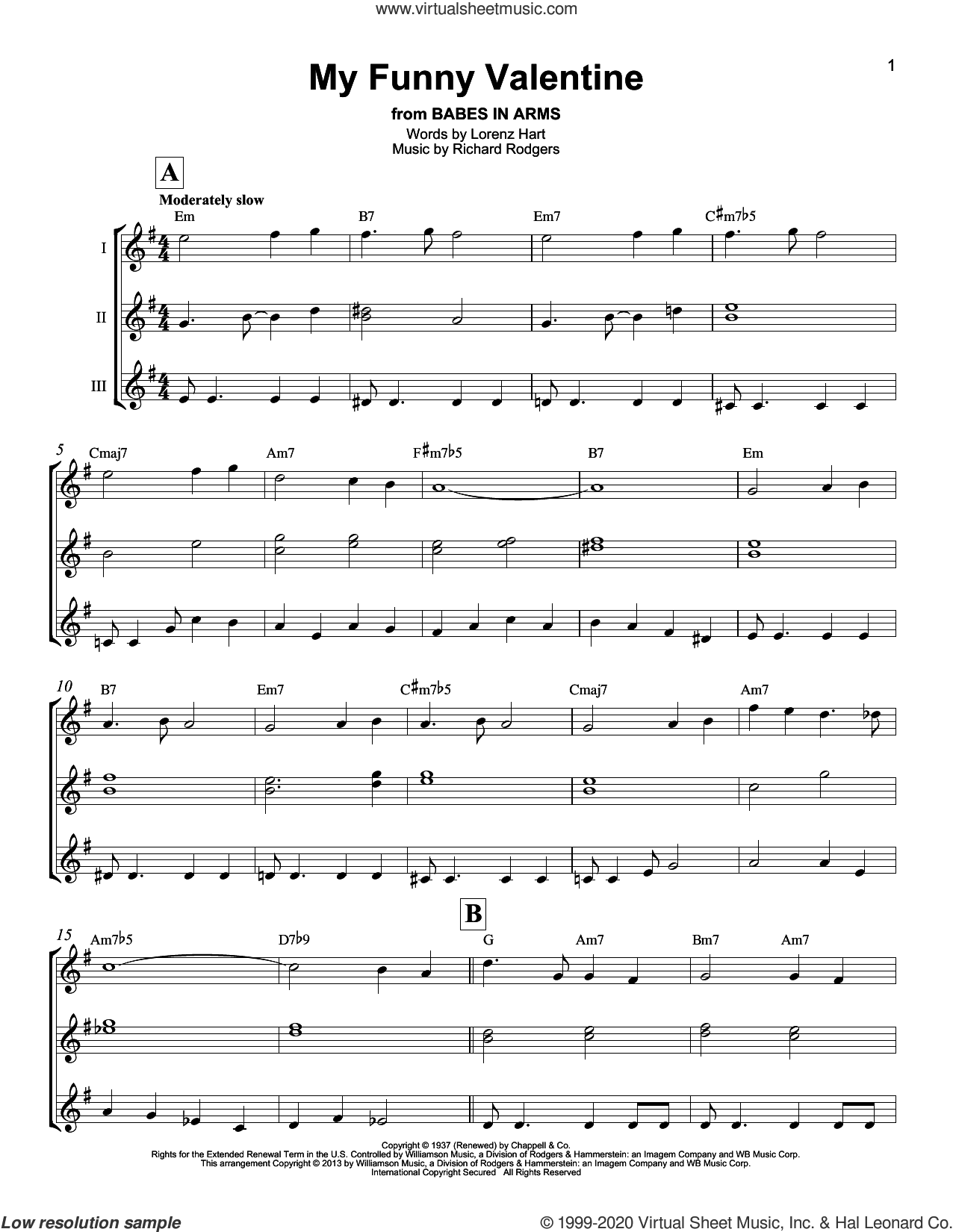 My Funny Valentine sheet music for ukulele ensemble by Rodgers & Hart, Lorenz Hart and Richard Rodgers, wedding score, intermediate skill level