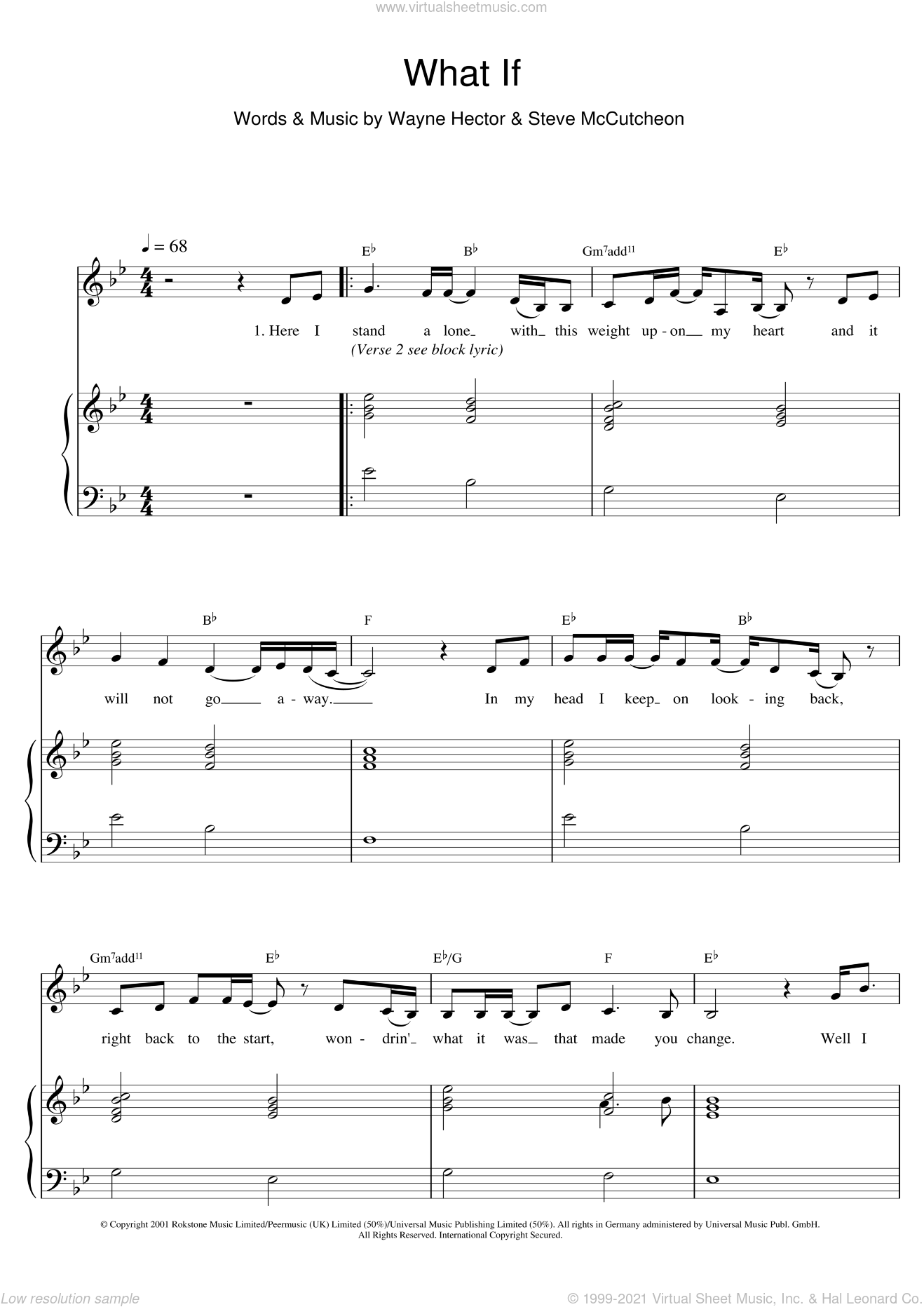 What If sheet music for voice and piano by Kate Winslet and Wayne Hector. Score Image Preview.