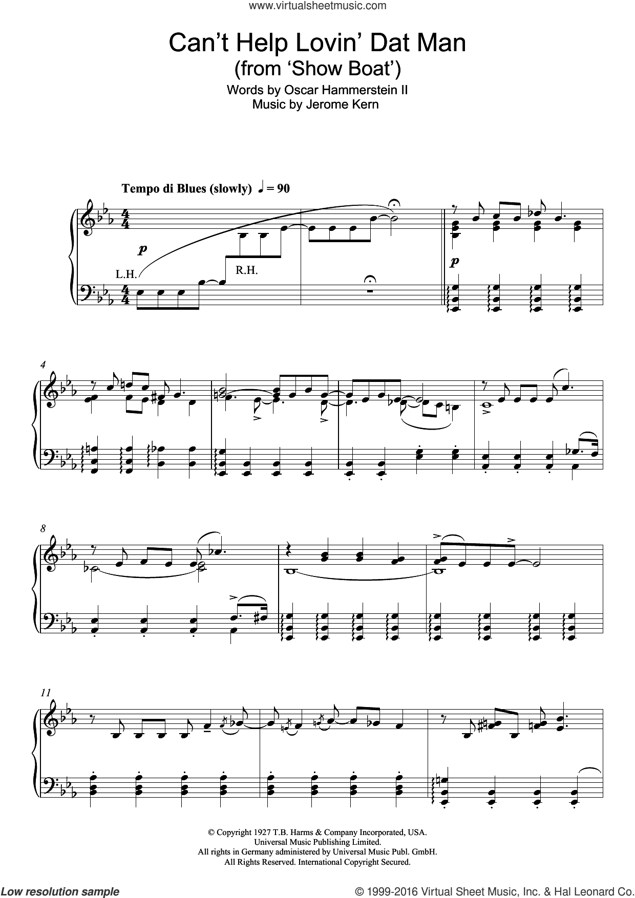 Can't Help Lovin' Dat Man (from Show Boat) sheet music for piano solo by Jerome Kern and Oscar II Hammerstein, intermediate. Score Image Preview.
