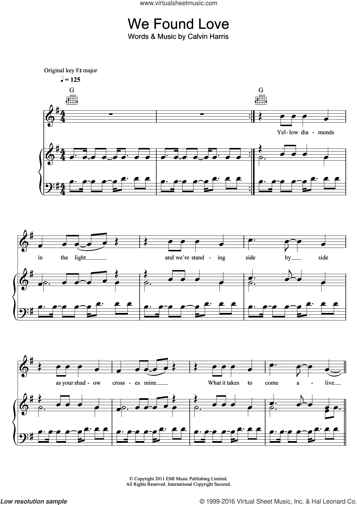 We Found Love (featuring Calvin Harris) sheet music for voice, piano or guitar by Rihanna and Calvin Harris, intermediate skill level