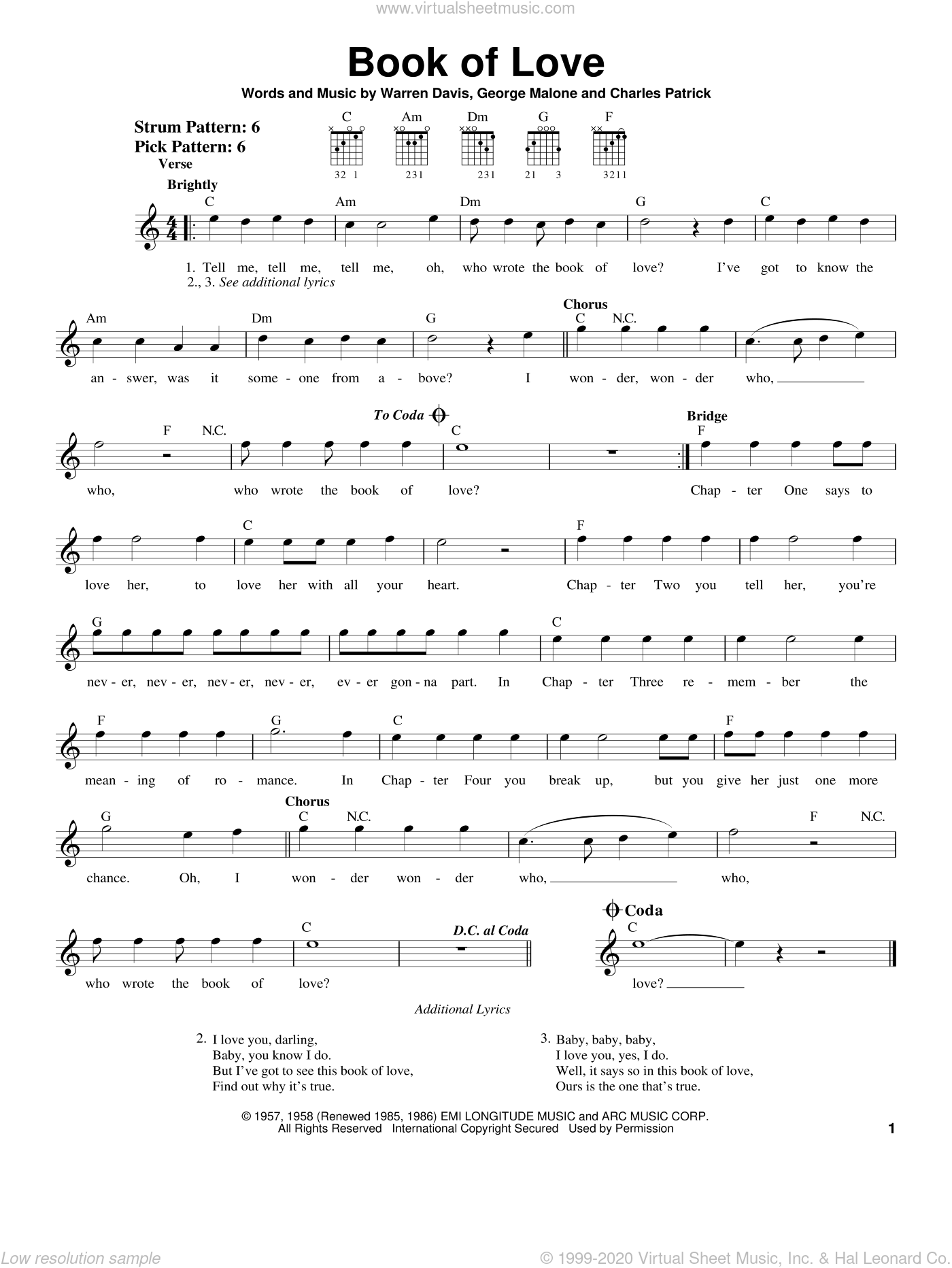 Book Of Love sheet music for guitar solo (chords) by The Monotones, Charles Patrick, George Malone and Warren Davis, easy guitar (chords)