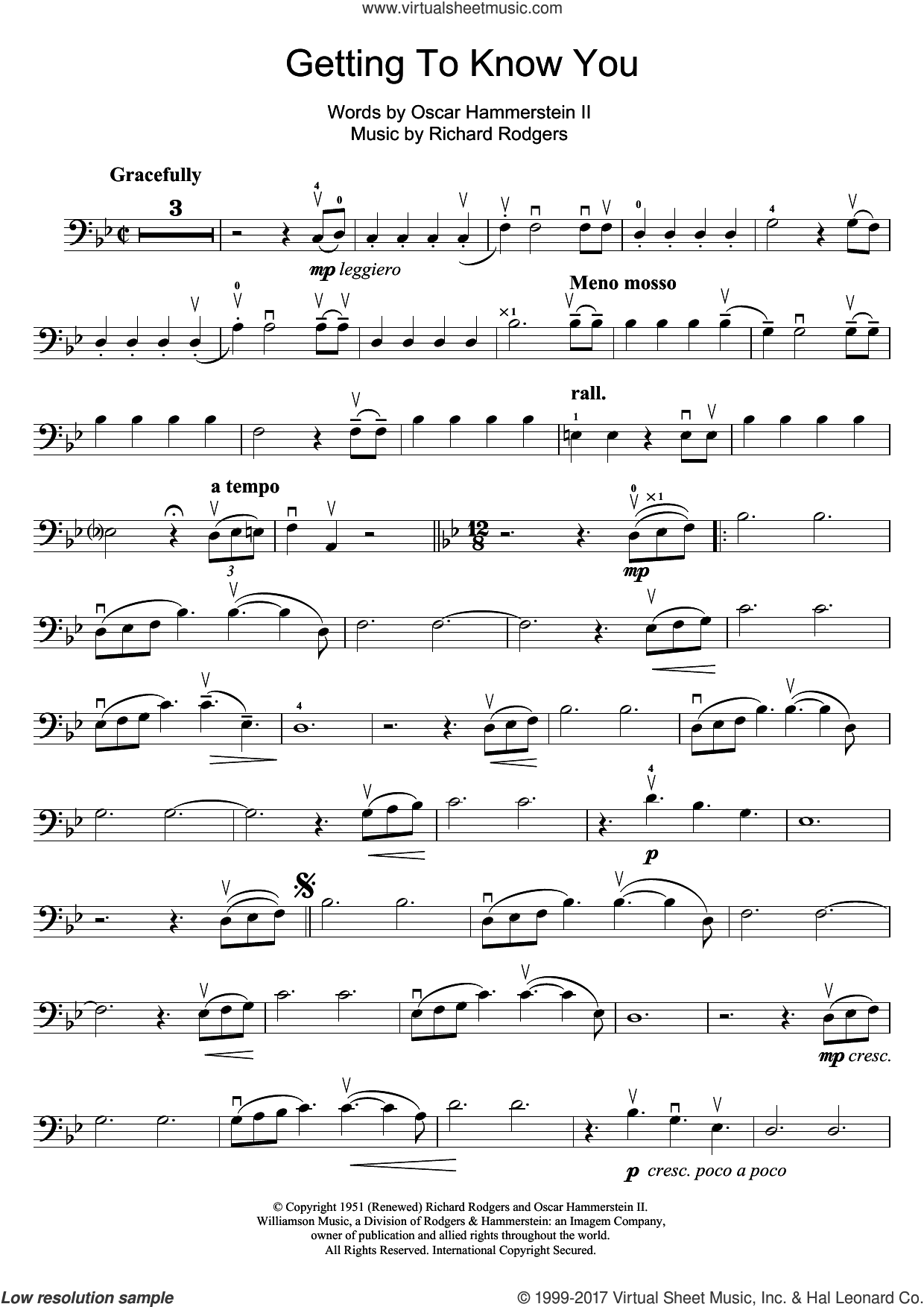 Getting To Know You (from The King And I) sheet music for cello solo by Rodgers & Hammerstein, Richard Rodgers and Oscar II Hammerstein, intermediate skill level