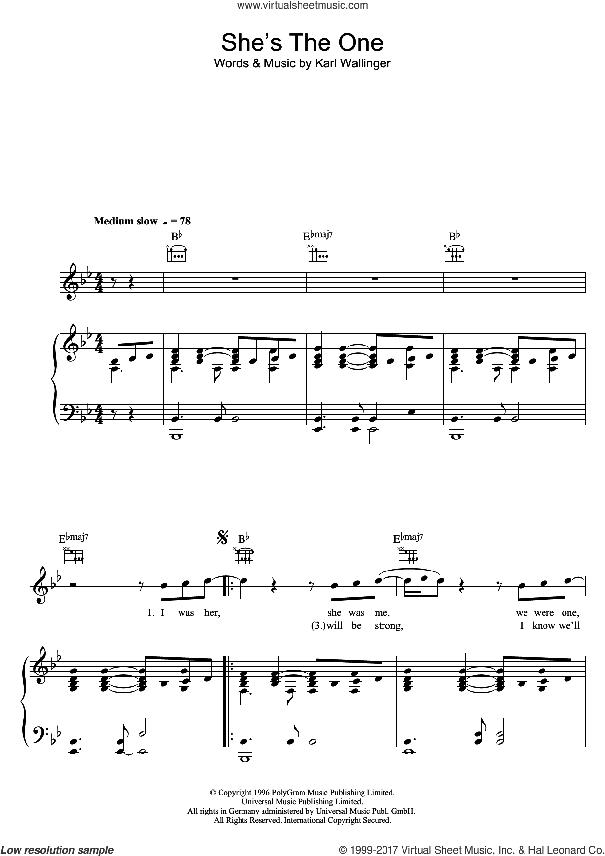 She's The One sheet music for voice, piano or guitar by Robbie Williams and Karl Wallinger, intermediate skill level