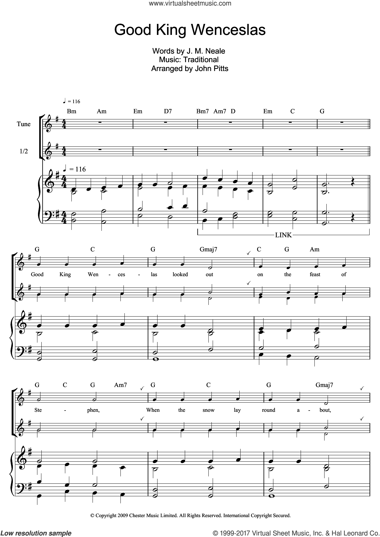 Good King Wenceslas sheet music for recorder solo by John Mason Neale and Miscellaneous, intermediate skill level
