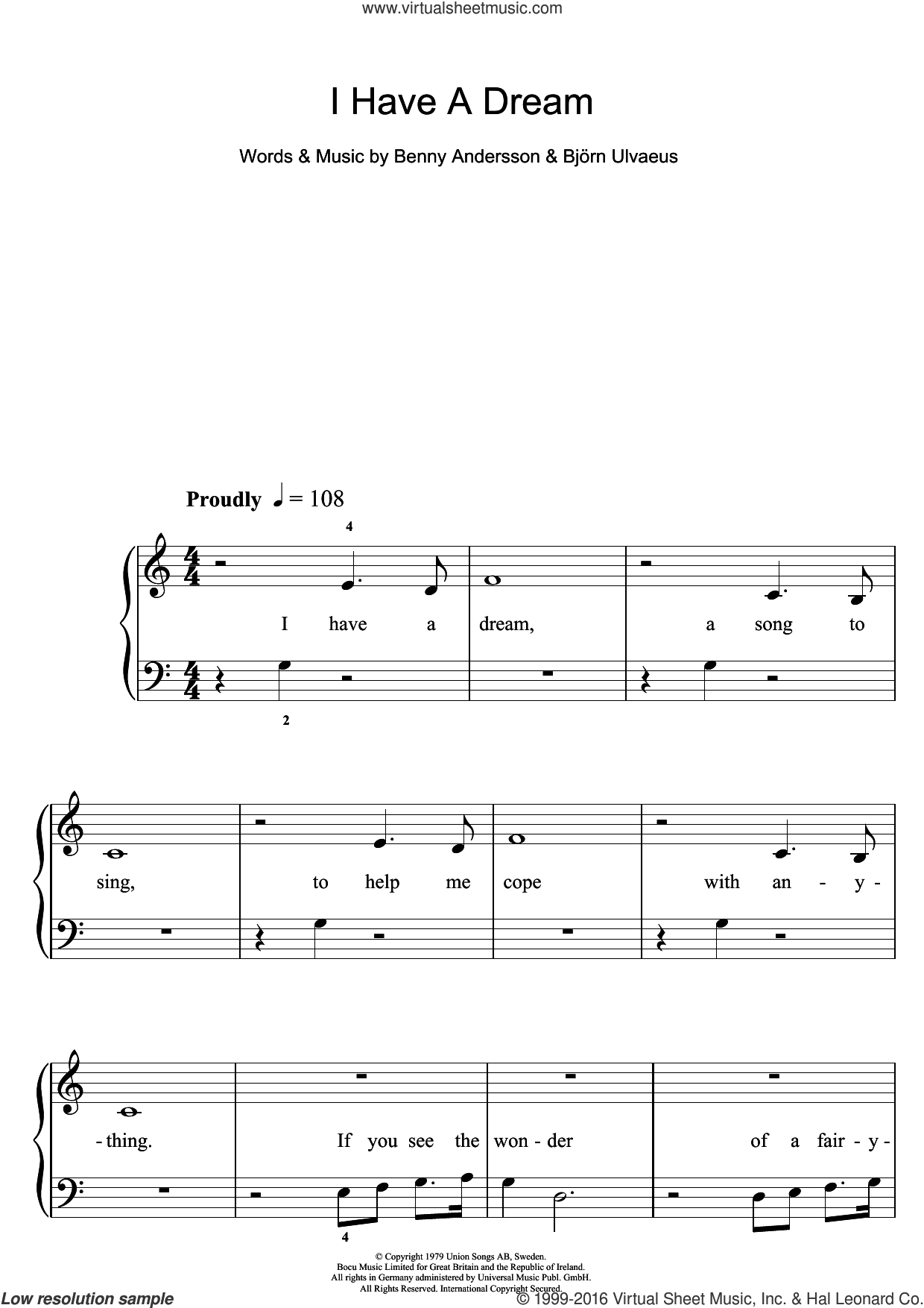 I Have A Dream sheet music for piano solo (5-fingers) by ABBA, Westlife, Benny Andersson and Bjorn Ulvaeus, beginner piano (5-fingers). Score Image Preview.