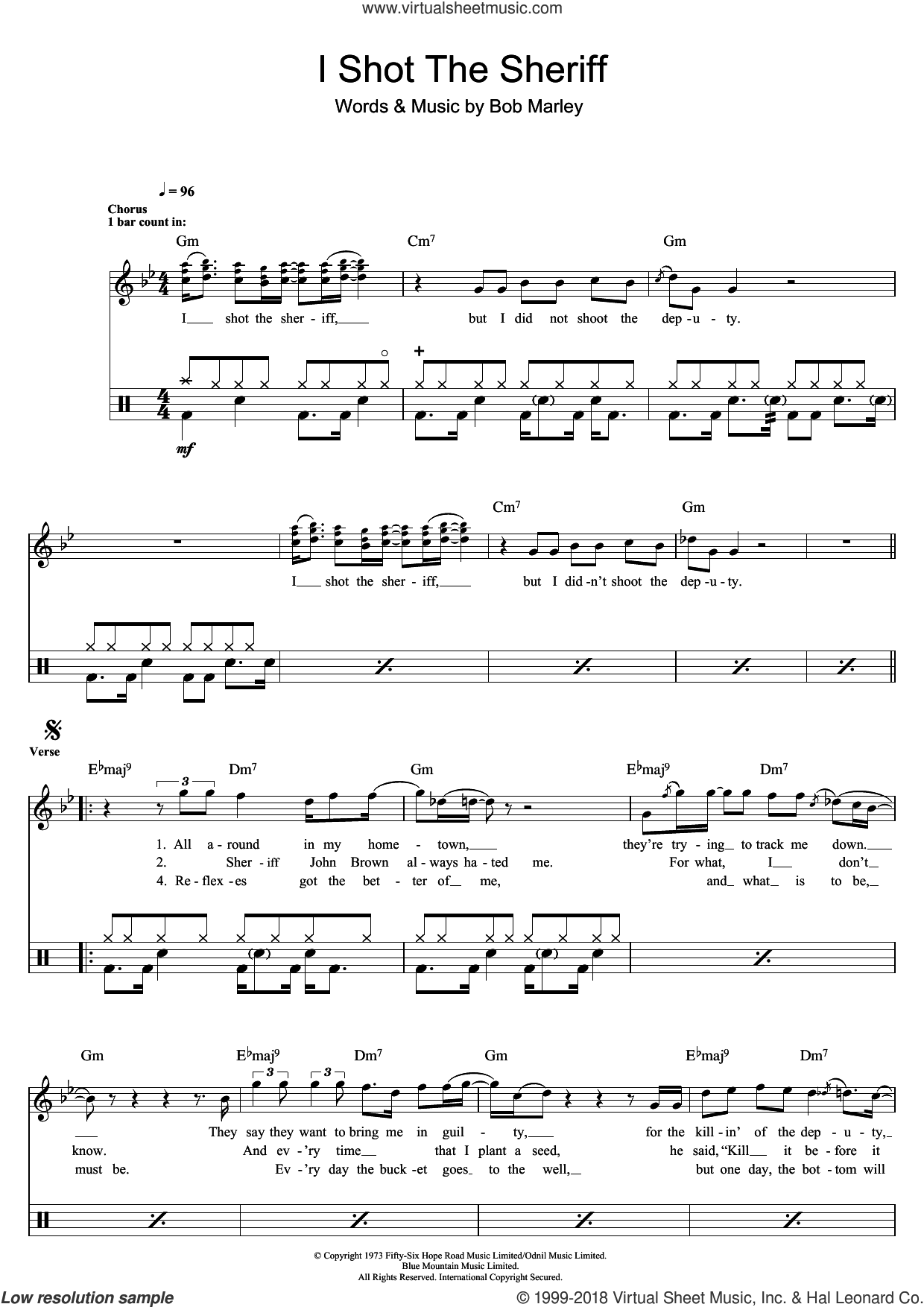 I Shot The Sheriff sheet music for drums (percussions) by Eric Clapton and Bob Marley, intermediate skill level