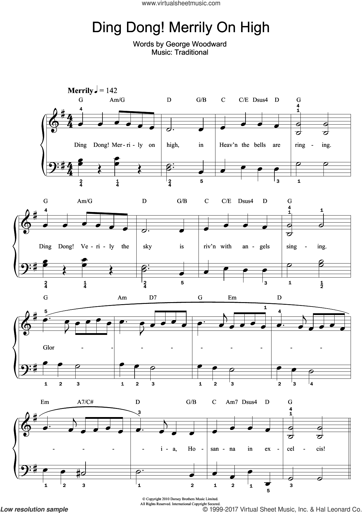 Ding Dong! Merrily On High sheet music for piano solo (beginners) by George Woodward and Miscellaneous, beginner piano (beginners)