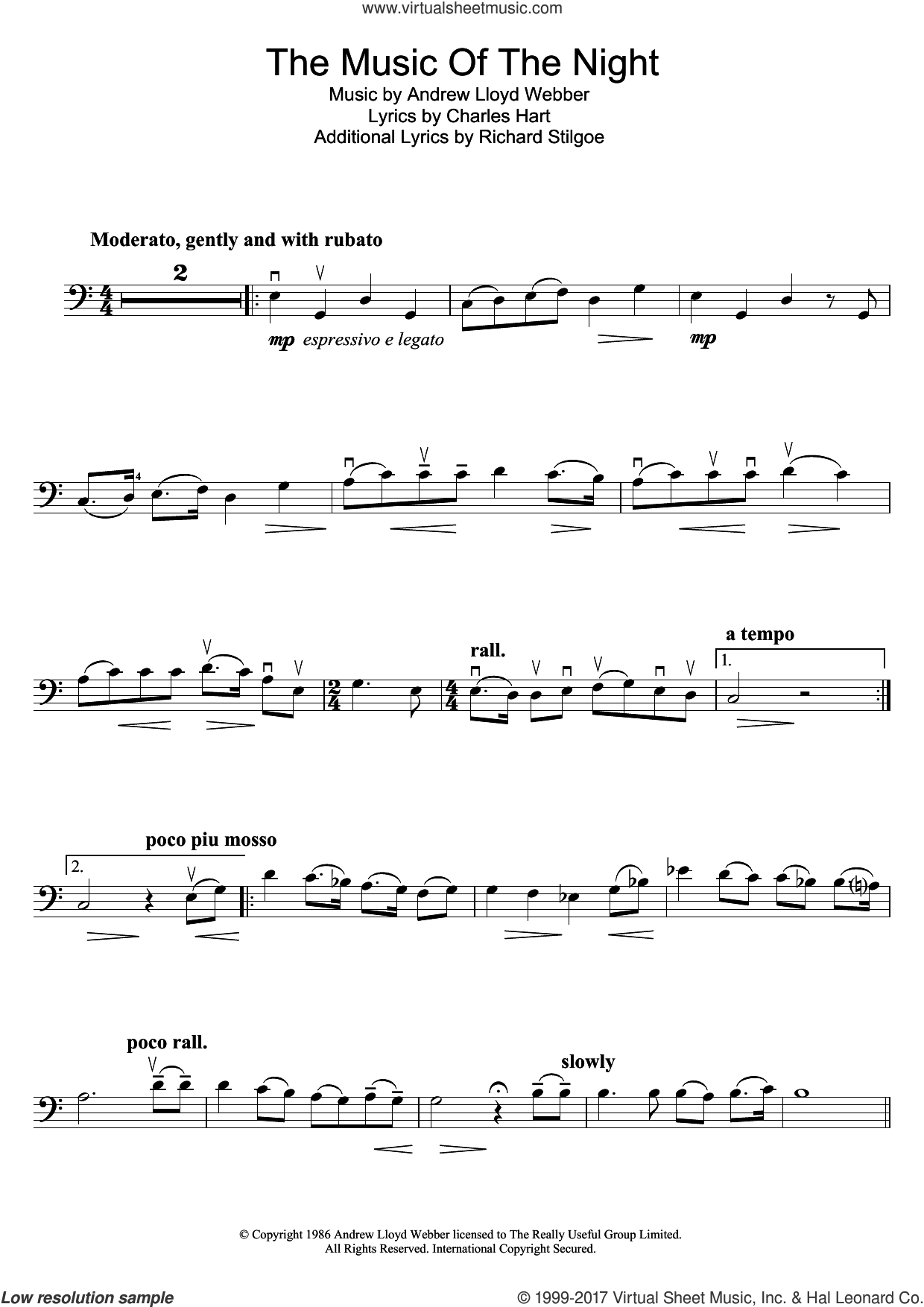The Music Of The Night (from The Phantom Of The Opera) sheet music for cello solo by Andrew Lloyd Webber, Charles Hart and Richard Stilgoe, intermediate skill level