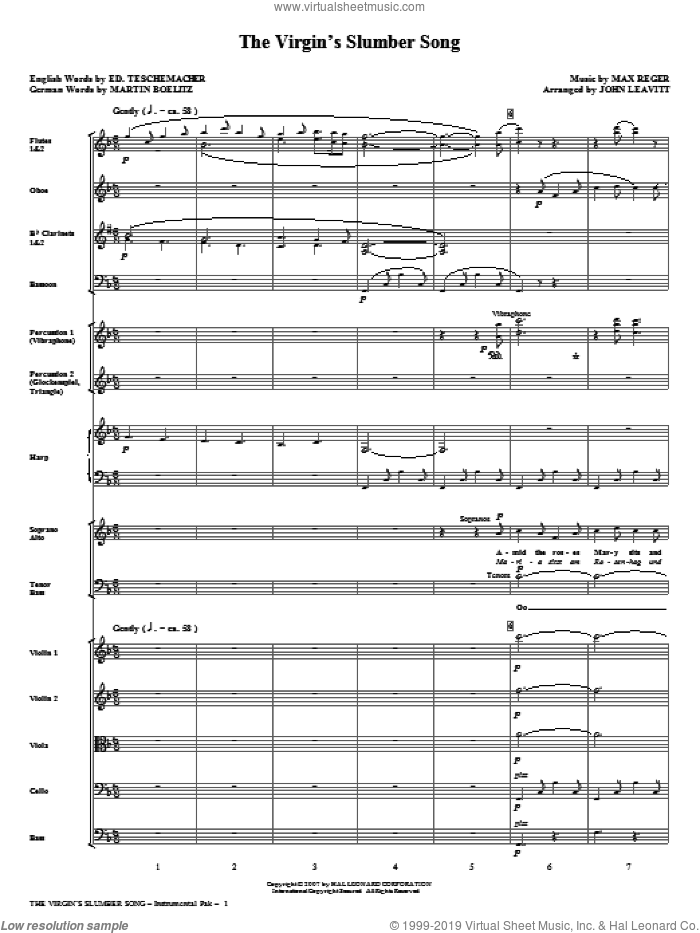 The Virgin's Slumber Song (COMPLETE) sheet music for orchestra/band (chamber ensemble) by John Leavitt and Max Reger, intermediate. Score Image Preview.