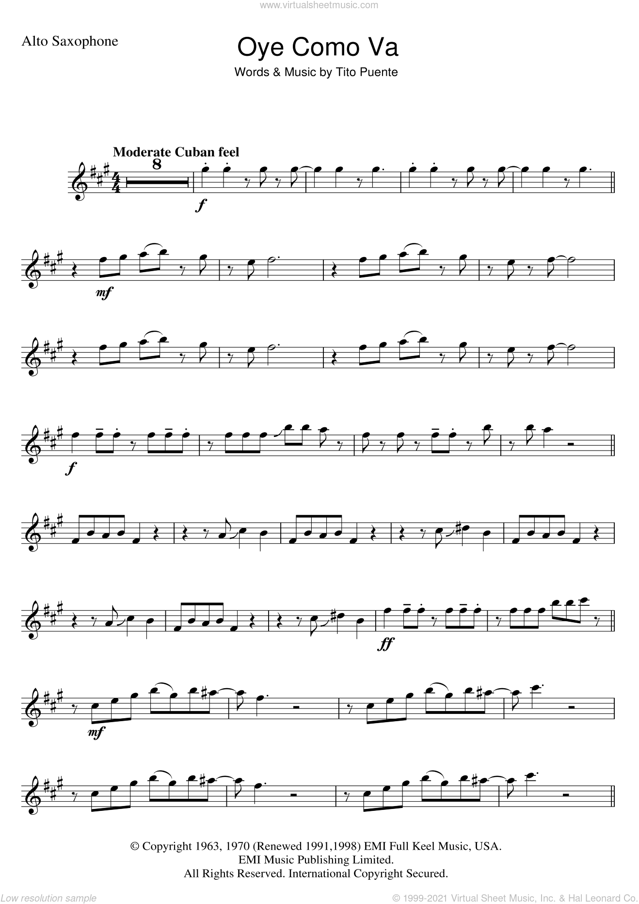 Oye Como Va sheet music for alto saxophone solo by Tito Puente and Carlos Santana, intermediate skill level