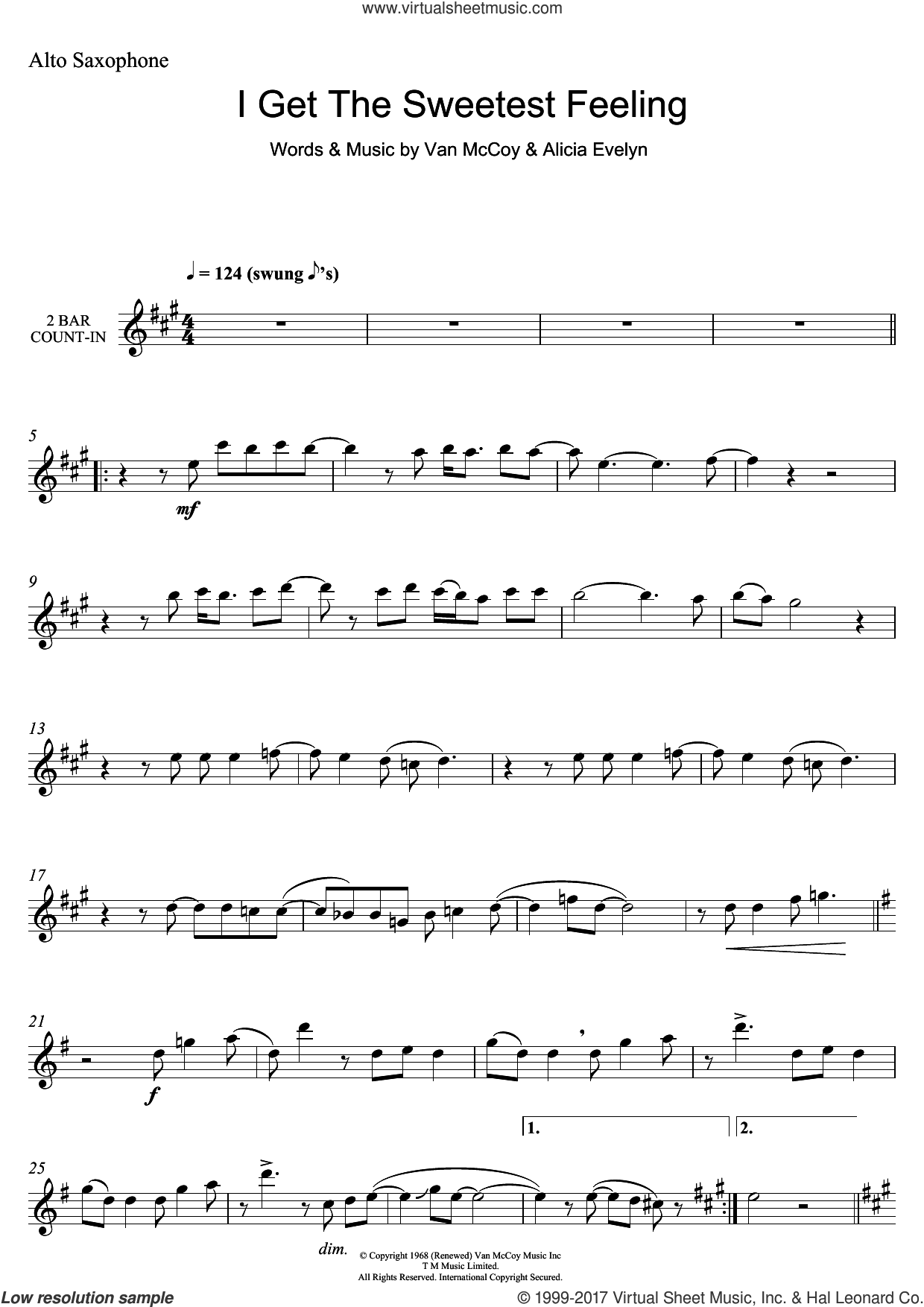 I Get The Sweetest Feeling sheet music for alto saxophone solo by Jackie Wilson, Alicia Evelyn and Van McCoy, intermediate skill level