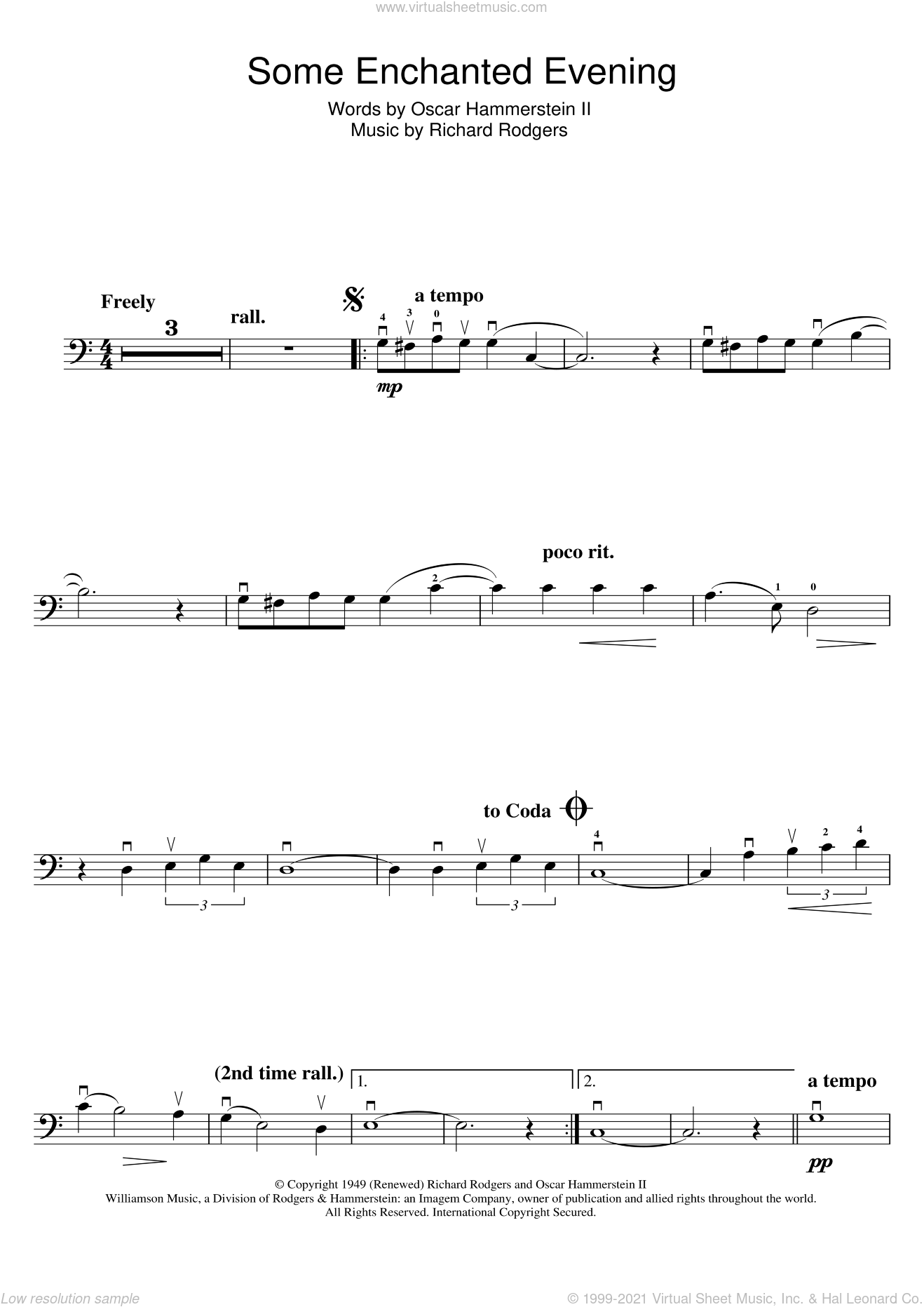 Some Enchanted Evening (from South Pacific) sheet music for cello solo by Rodgers & Hammerstein, Oscar II Hammerstein and Richard Rodgers, intermediate skill level