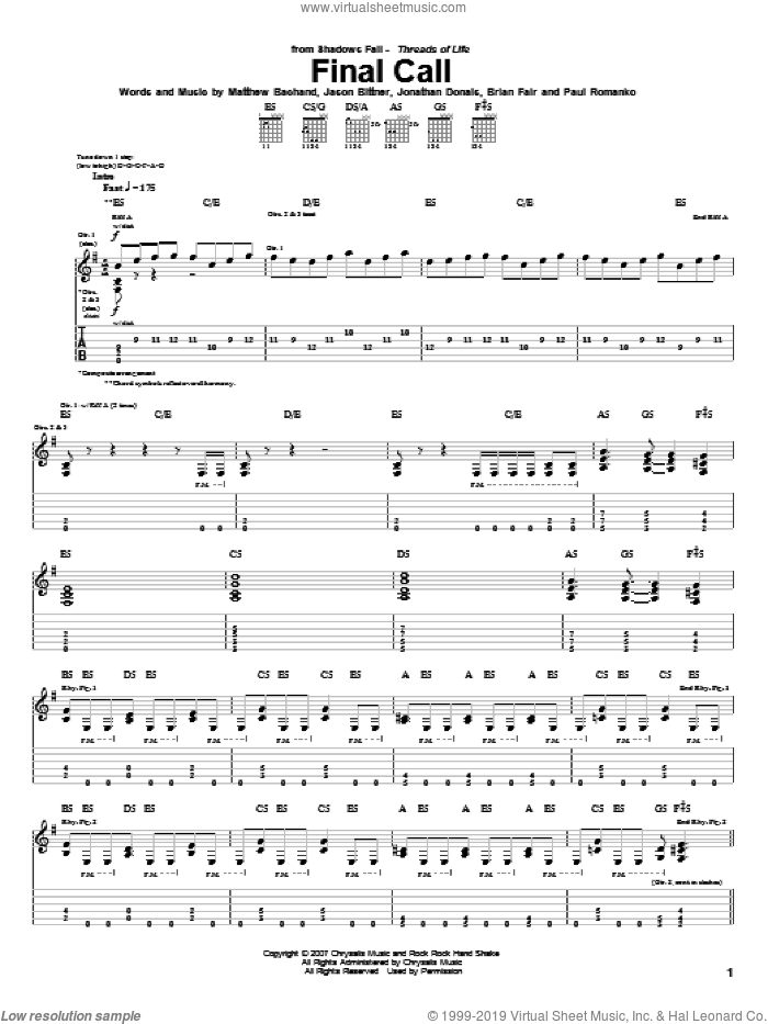 Final Call sheet music for guitar (tablature) by Paul Romanko