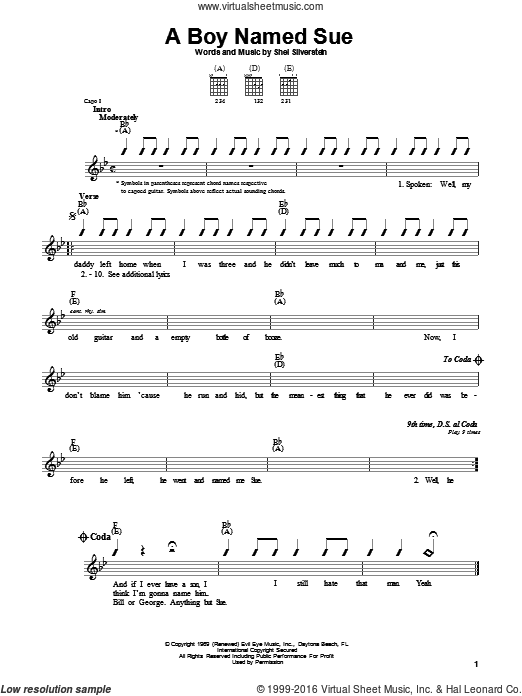 A Boy Named Sue sheet music for guitar solo (chords) by Johnny Cash and Shel Silverstein, easy guitar (chords). Score Image Preview.