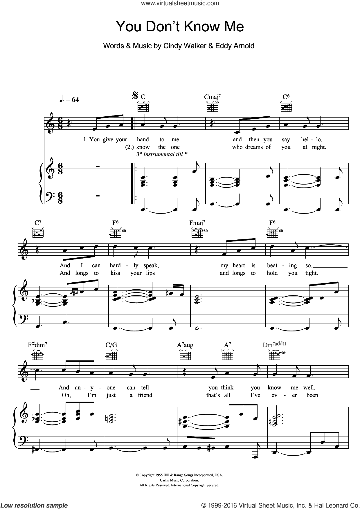 You Don't Know Me sheet music for voice, piano or guitar by Michael Buble, Ray Charles, Cindy Walker and Eddy Arnold, intermediate