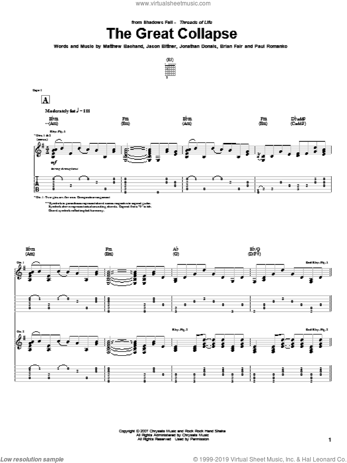The Great Collapse sheet music for guitar (tablature) by Paul Romanko. Score Image Preview.