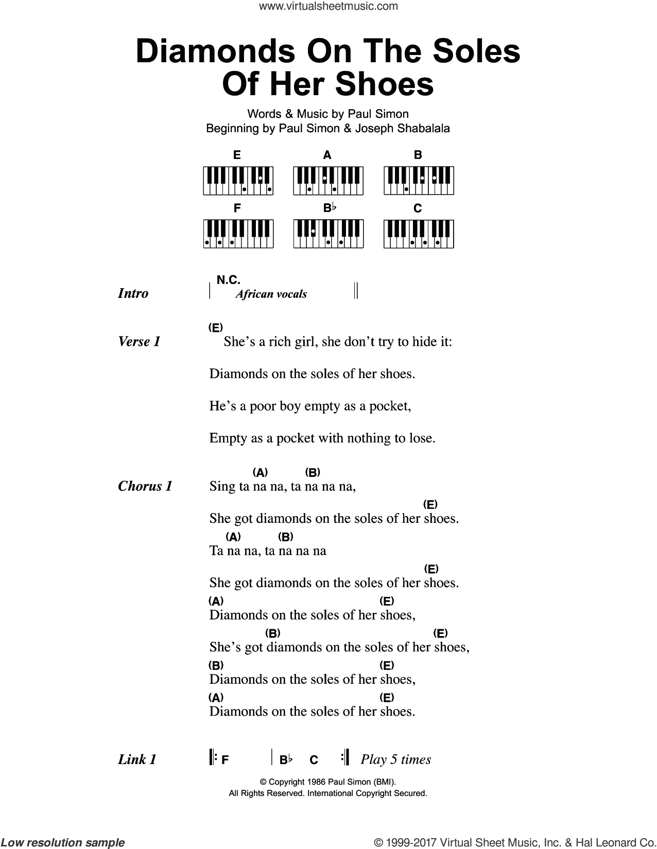 Diamonds On The Soles Of Her Shoes sheet music for piano solo (chords, lyrics, melody) by Paul Simon, intermediate piano (chords, lyrics, melody)