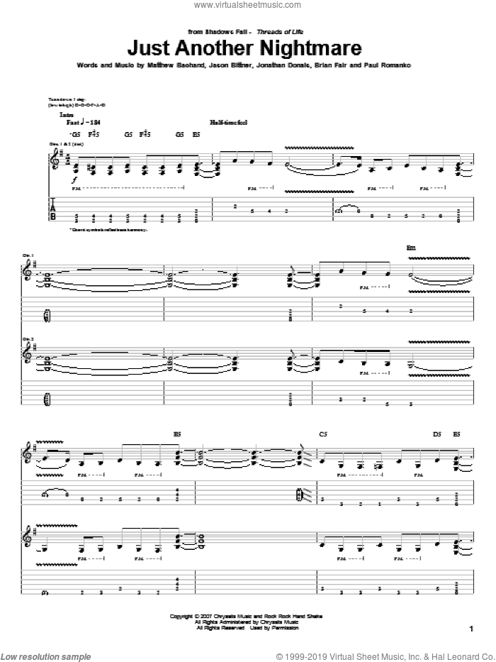 Just Another Nightmare sheet music for guitar (tablature) by Shadows Fall, Brian Fair, Jason Bittner, Jonathan Donais, Matthew Bachand and Paul Romanko, intermediate skill level