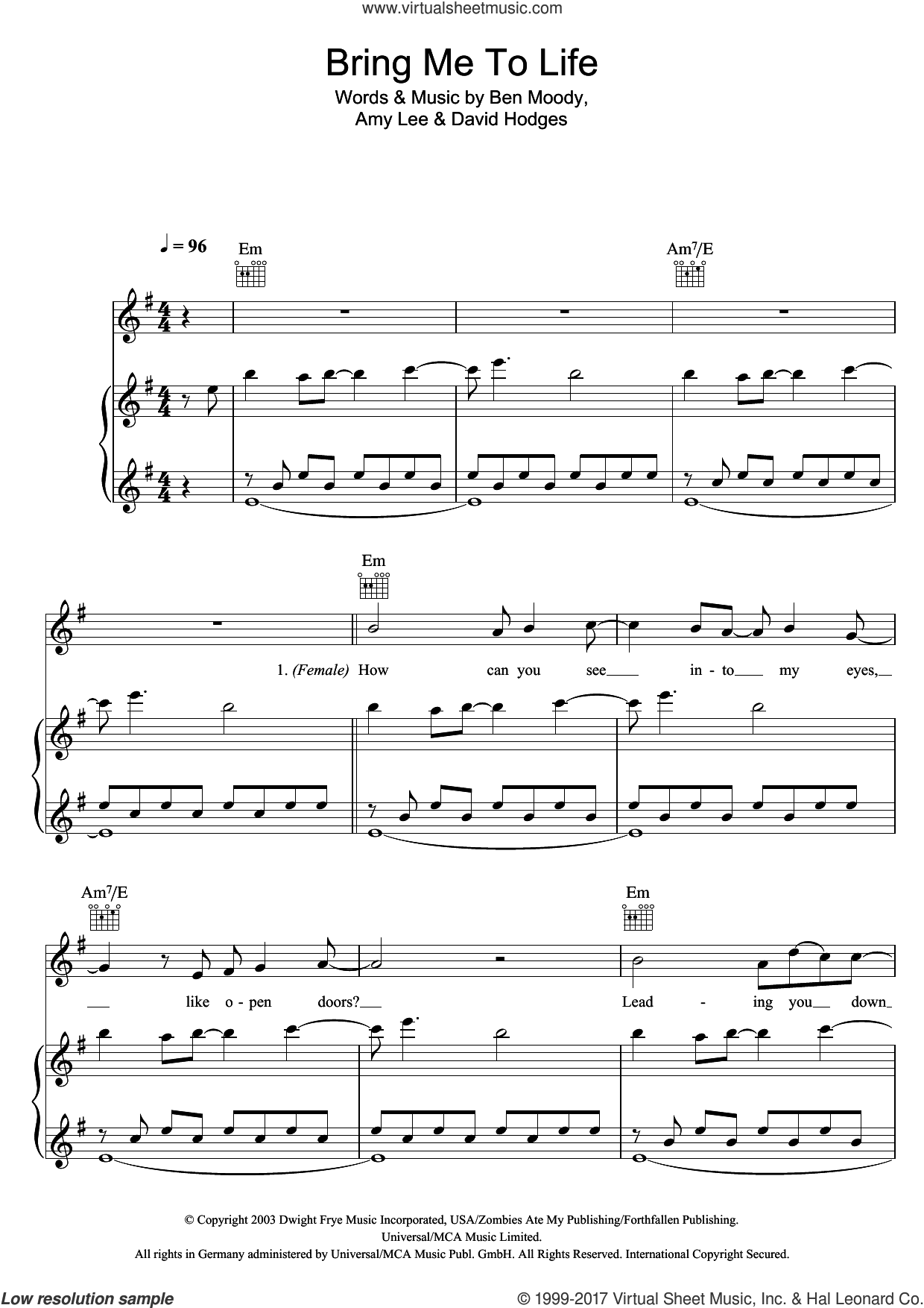 Bring Me To Life sheet music for voice, piano or guitar by Evanescence, Amy Lee, Ben Moody and David Hodges, intermediate skill level