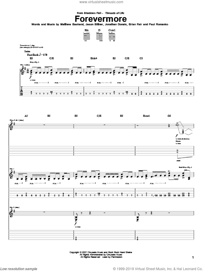 Forevermore sheet music for guitar (tablature) by Shadows Fall. Score Image Preview.