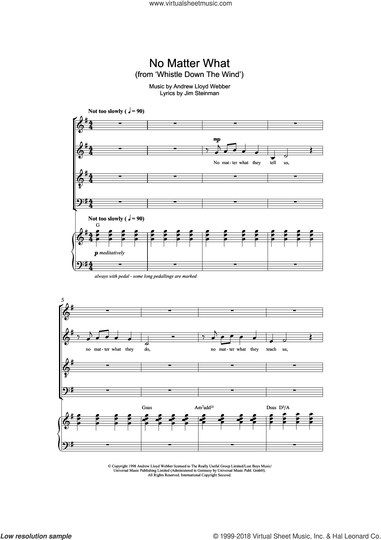 No Matter What (from Whistle Down The Wind) sheet music for choir (SATB) by Boyzone, Andrew Lloyd Webber and Jim Steinman. Score Image Preview.
