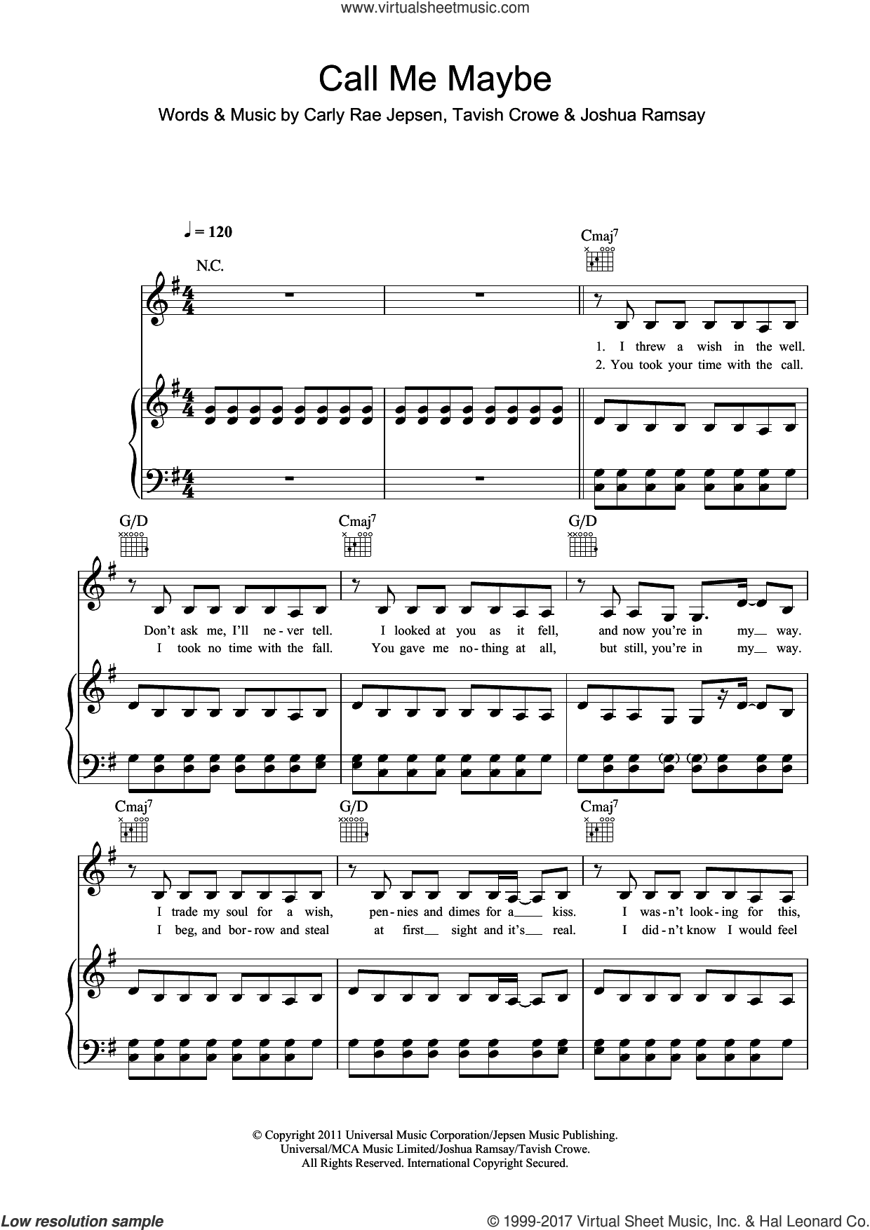 Call Me Maybe sheet music for voice, piano or guitar by Carly Rae Jepsen, Joshua Ramsay and Tavish Crowe, intermediate skill level