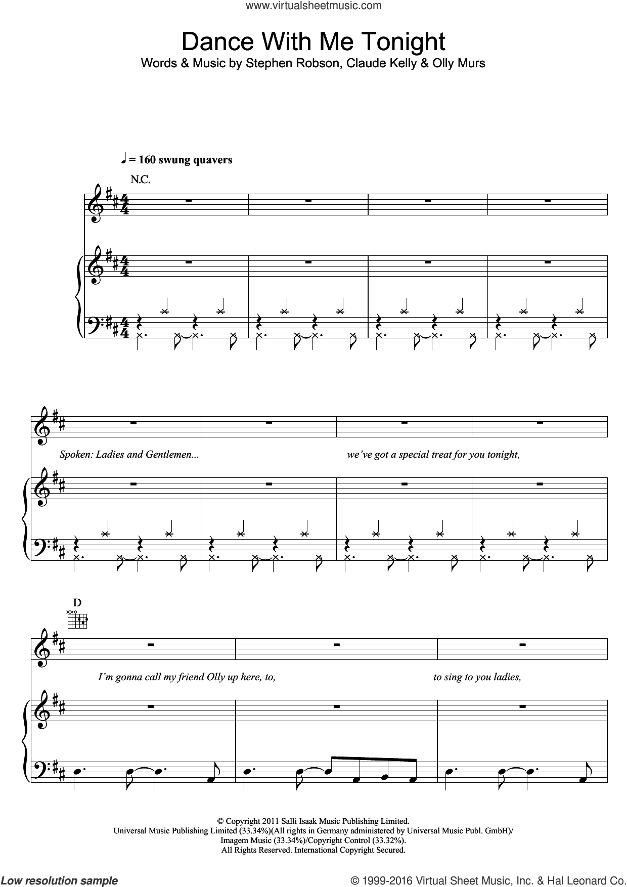 Dance With Me Tonight sheet music for voice, piano or guitar by Olly Murs, Claude Kelly and Steve Robson, intermediate skill level