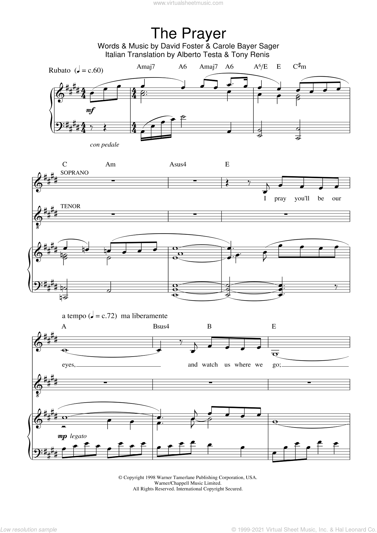 The Prayer sheet music for voice, piano or guitar by Charlotte Church, Andrea Bocelli, David Foster and Tony Renis. Score Image Preview.