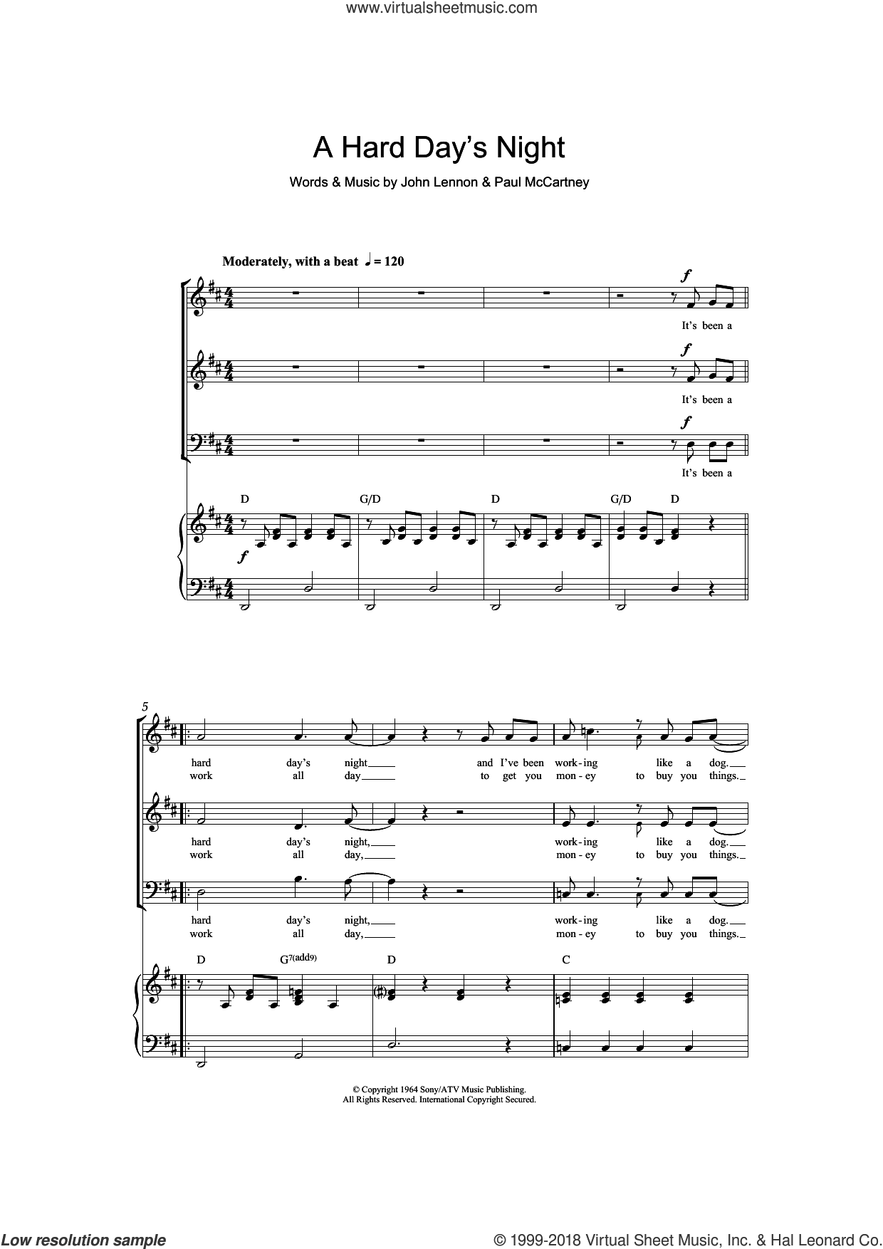 A Hard Day's Night (arr. Barrie Carson Turner) sheet music for choir (SAB: soprano, alto, bass) by The Beatles, Barrie Carson Turner, John Lennon and Paul McCartney, intermediate skill level