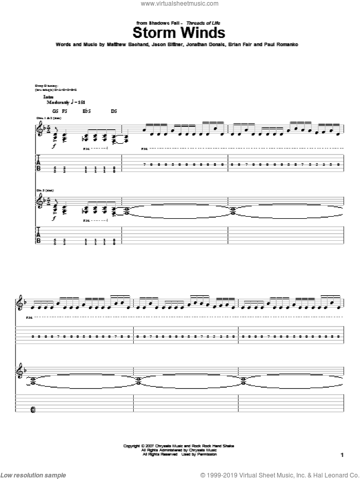 Storm Winds sheet music for guitar (tablature) by Shadows Fall, Brian Fair, Jason Bittner, Jonathan Donais, Matthew Bachand and Paul Romanko, intermediate skill level