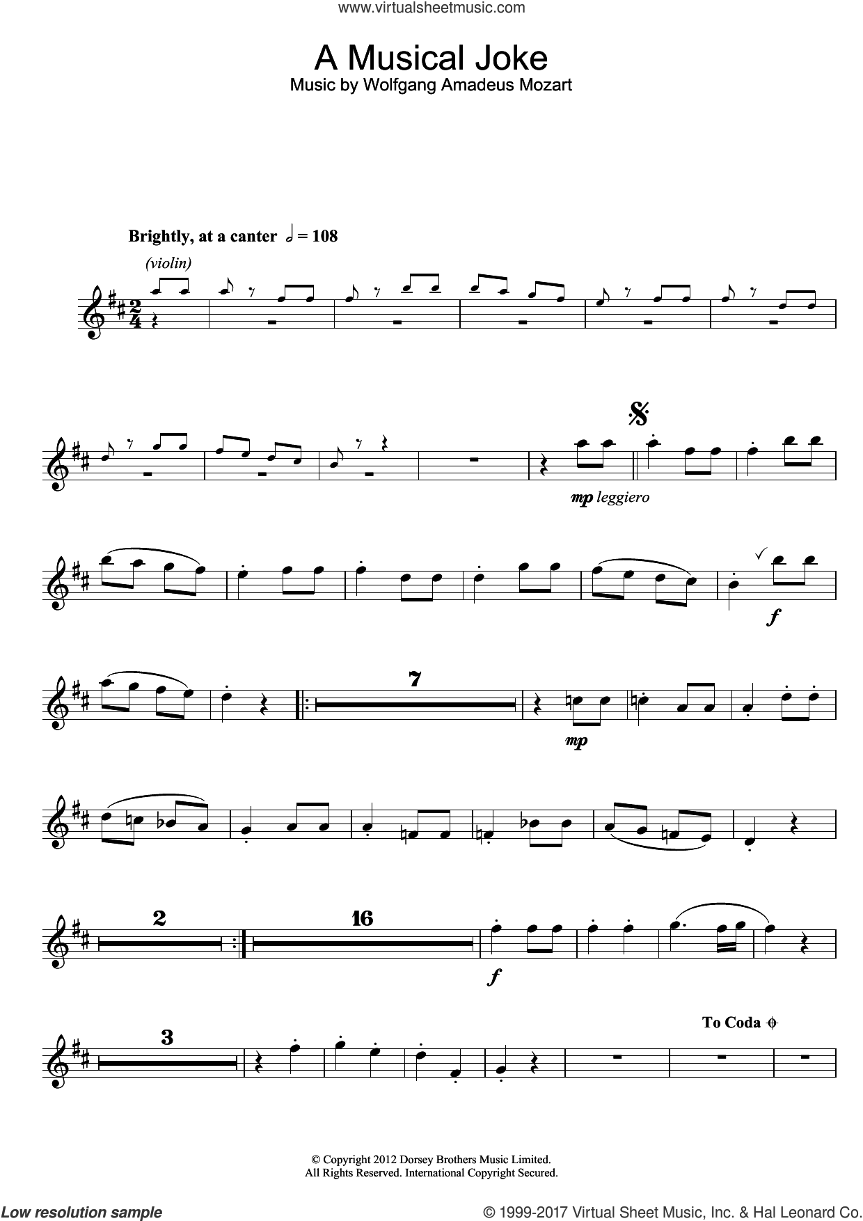 A Musical Joke sheet music for alto saxophone solo by Wolfgang Amadeus Mozart, classical score, intermediate
