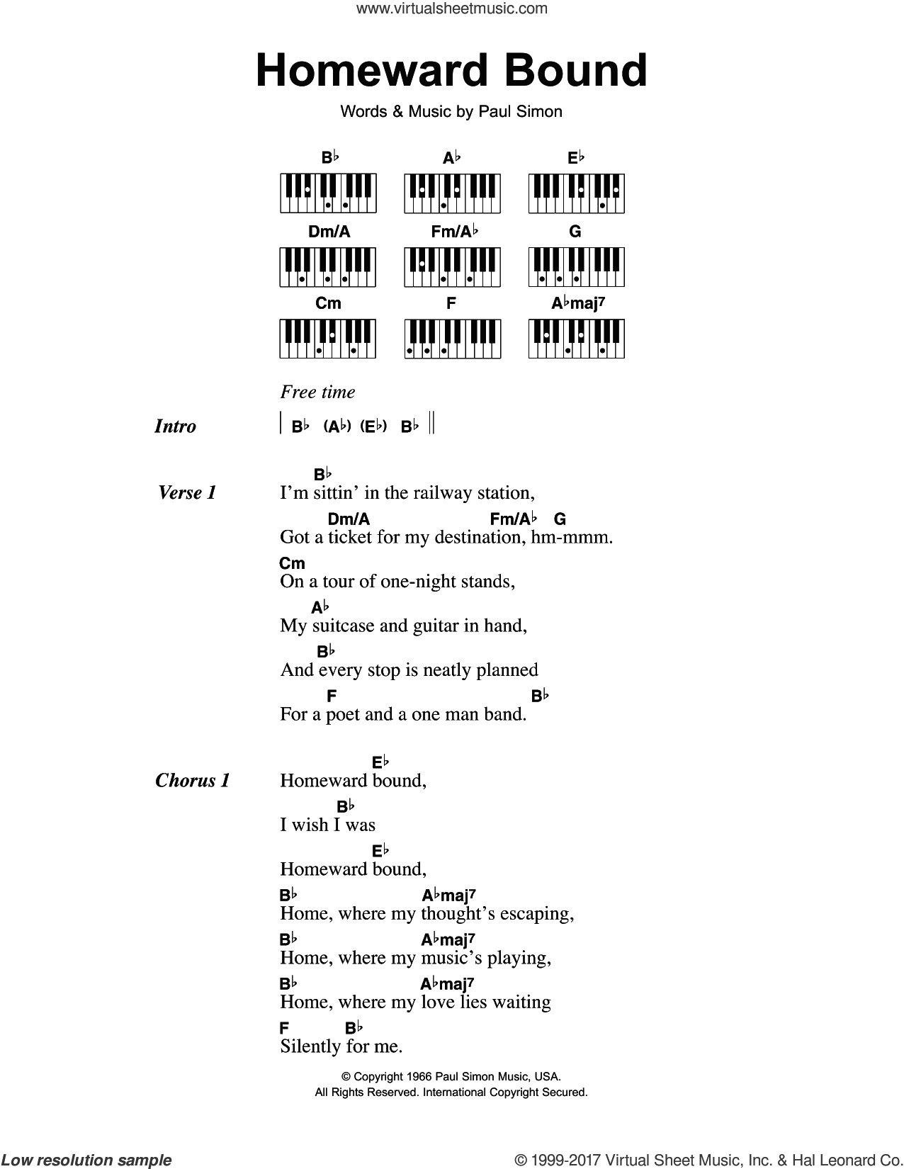 Homeward Bound sheet music for piano solo (chords, lyrics, melody) by Simon & Garfunkel and Paul Simon, intermediate piano (chords, lyrics, melody)