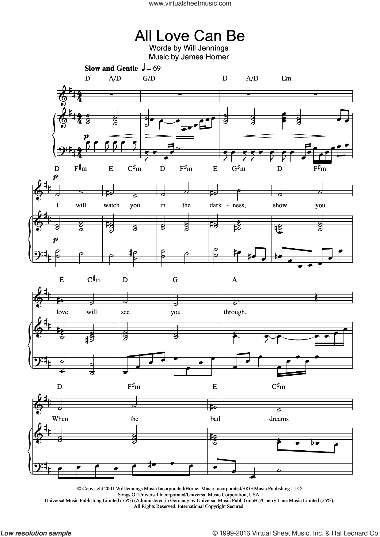 All Love Can Be (from A Beautiful Mind) sheet music for voice, piano or guitar by Charlotte Church, James Horner and Will Jennings, intermediate