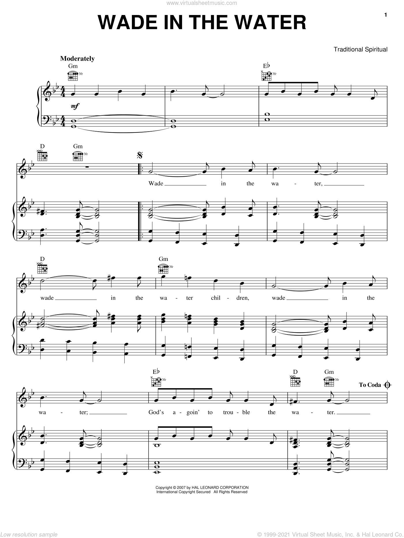 Wade In The Water sheet music for voice, piano or guitar